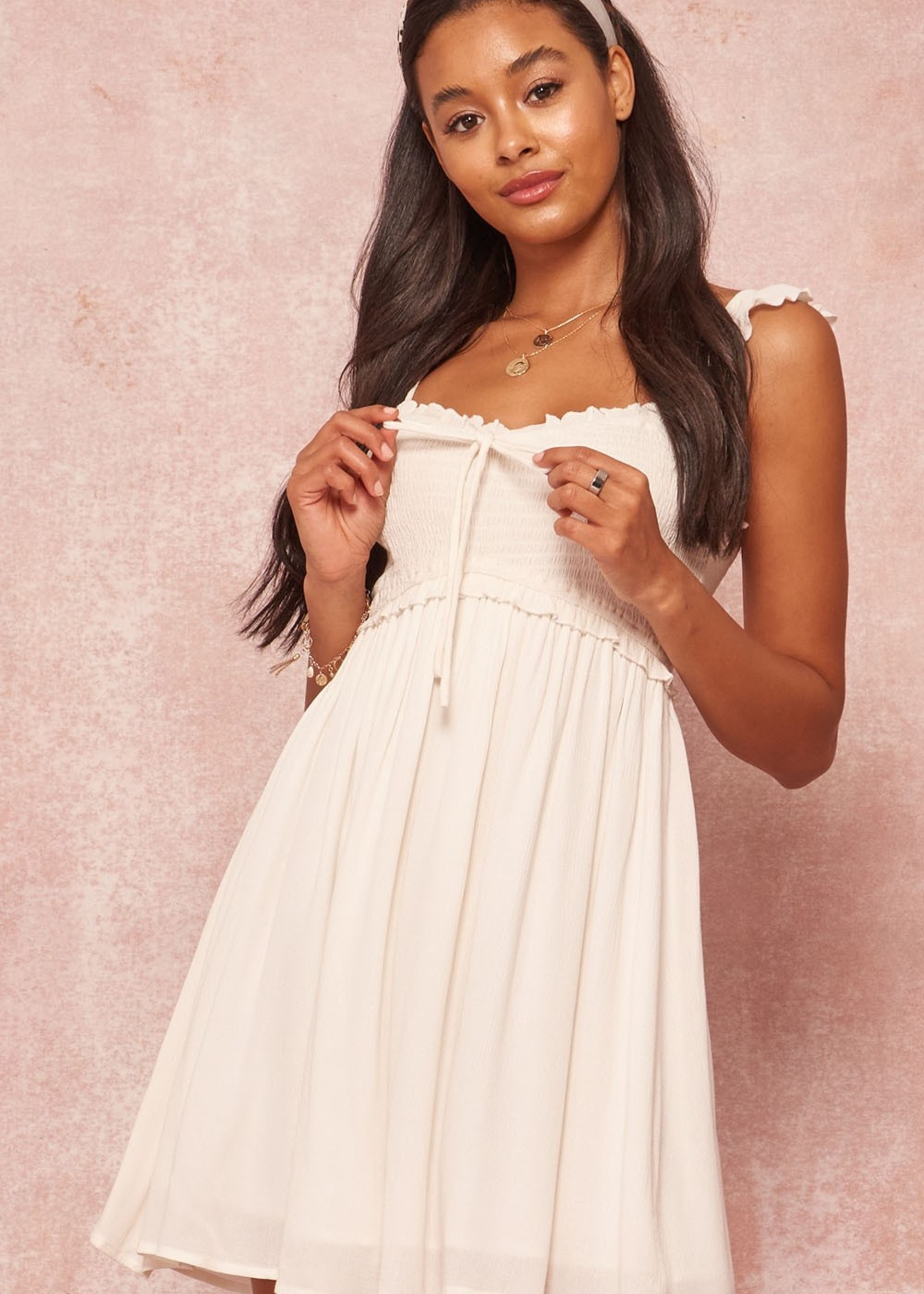 Smocked Dress with Ruffle Strap - Off White