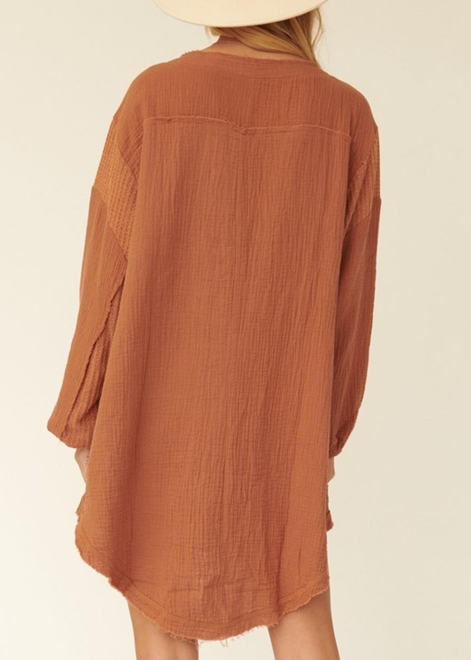 Snap Front Cotton Guaze Dress - Rust
