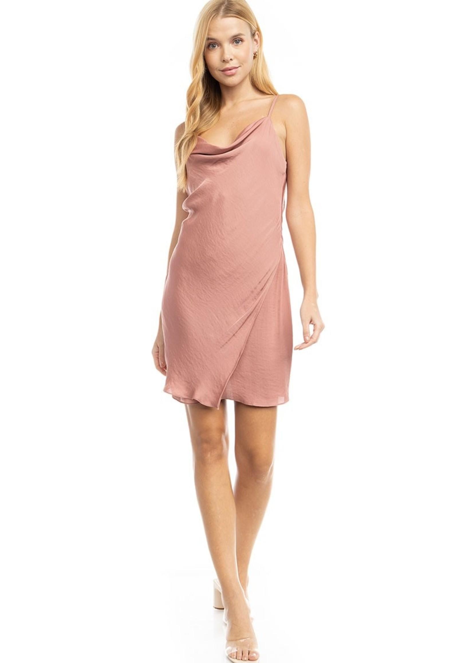 Cowl Neck Mini Dress - Rose