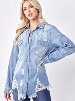 Distressed Denim Shirt - Light Blue