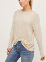 Lush Hacci long  Sleeve Top with Front Knot - Oatmeal