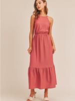 Lush Halter Maxi Dress - Berry