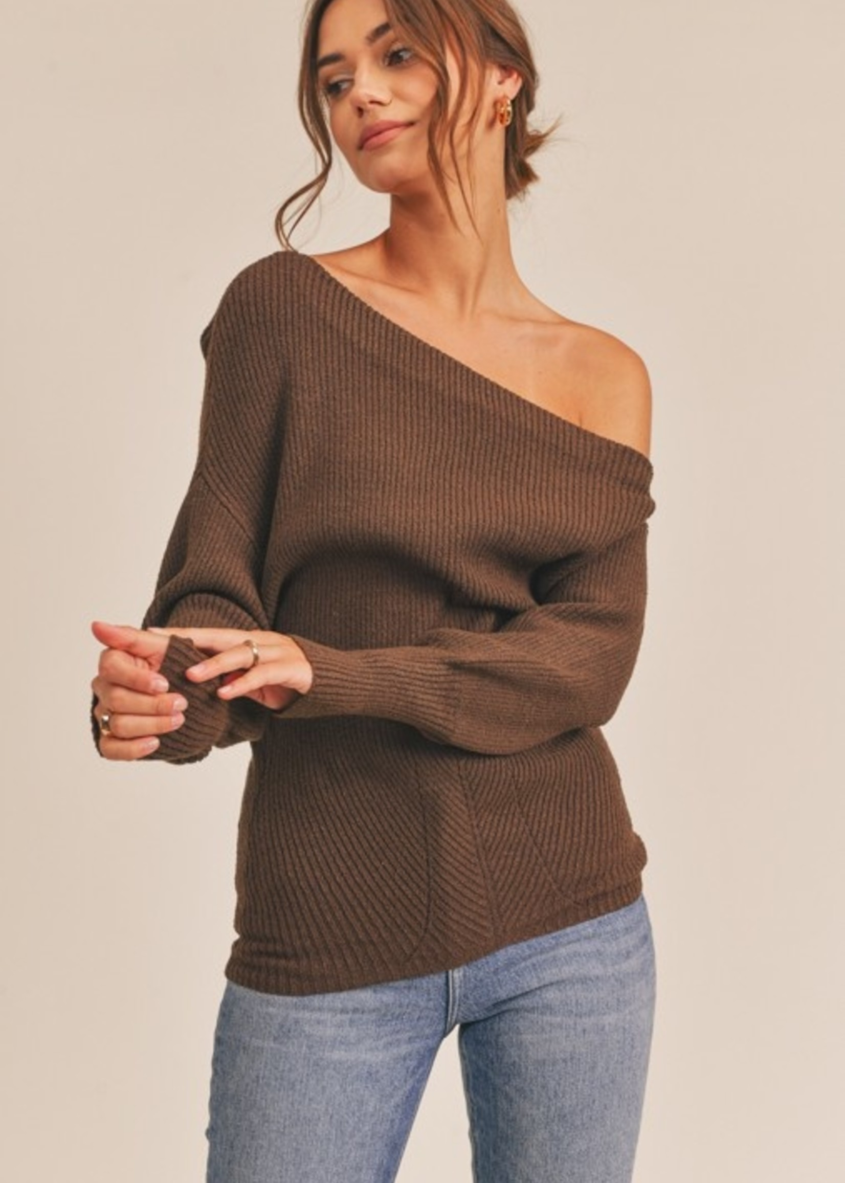 Lush Ribbed Off Shoulder Sweater