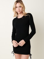 Long Sleeve Rib Ruched Dress - Black