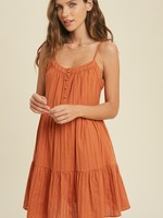 Tiered Dress with Buttons - Amber