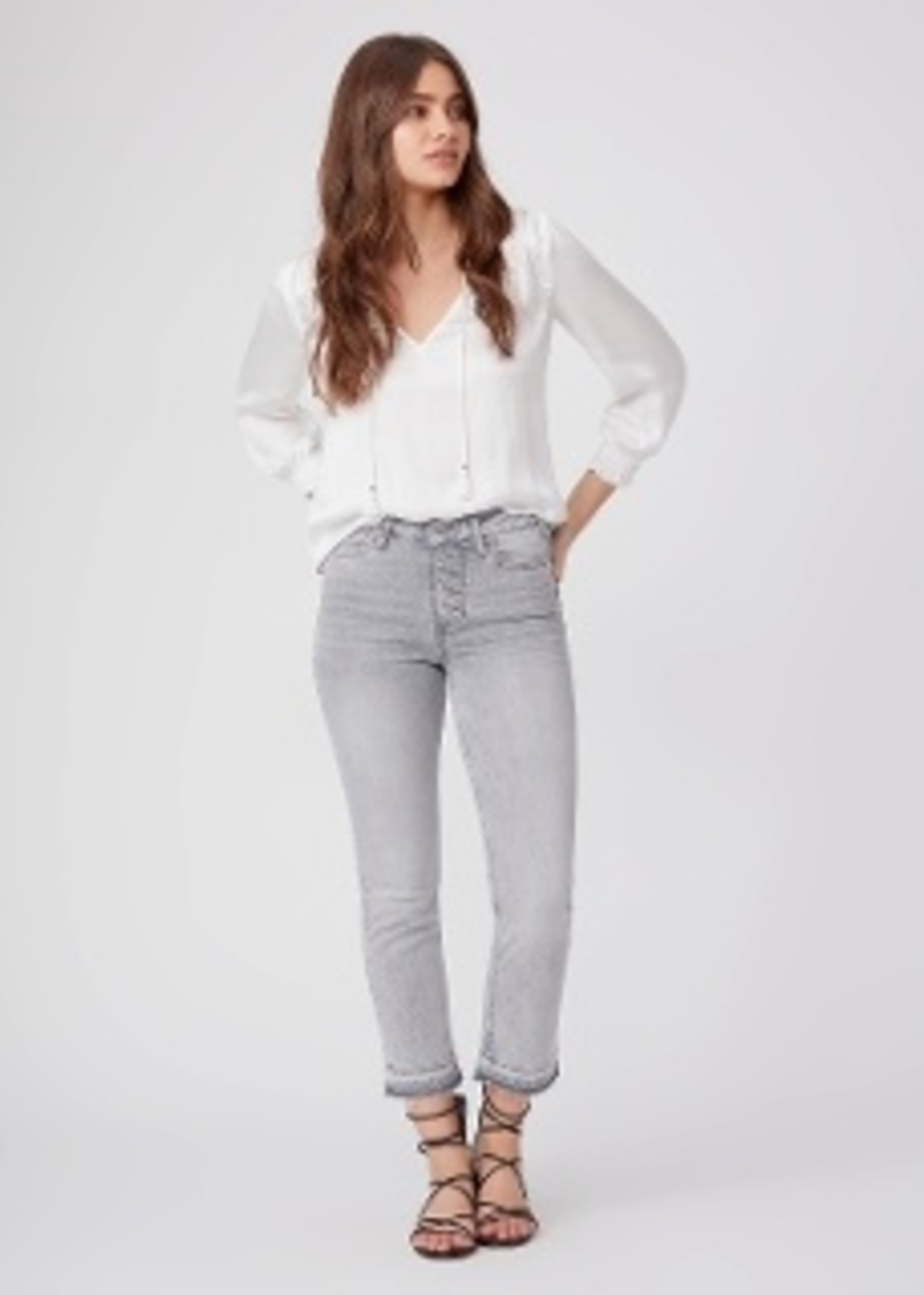 Paige Cindy Exposed Button - Faded Asphalt Distressed