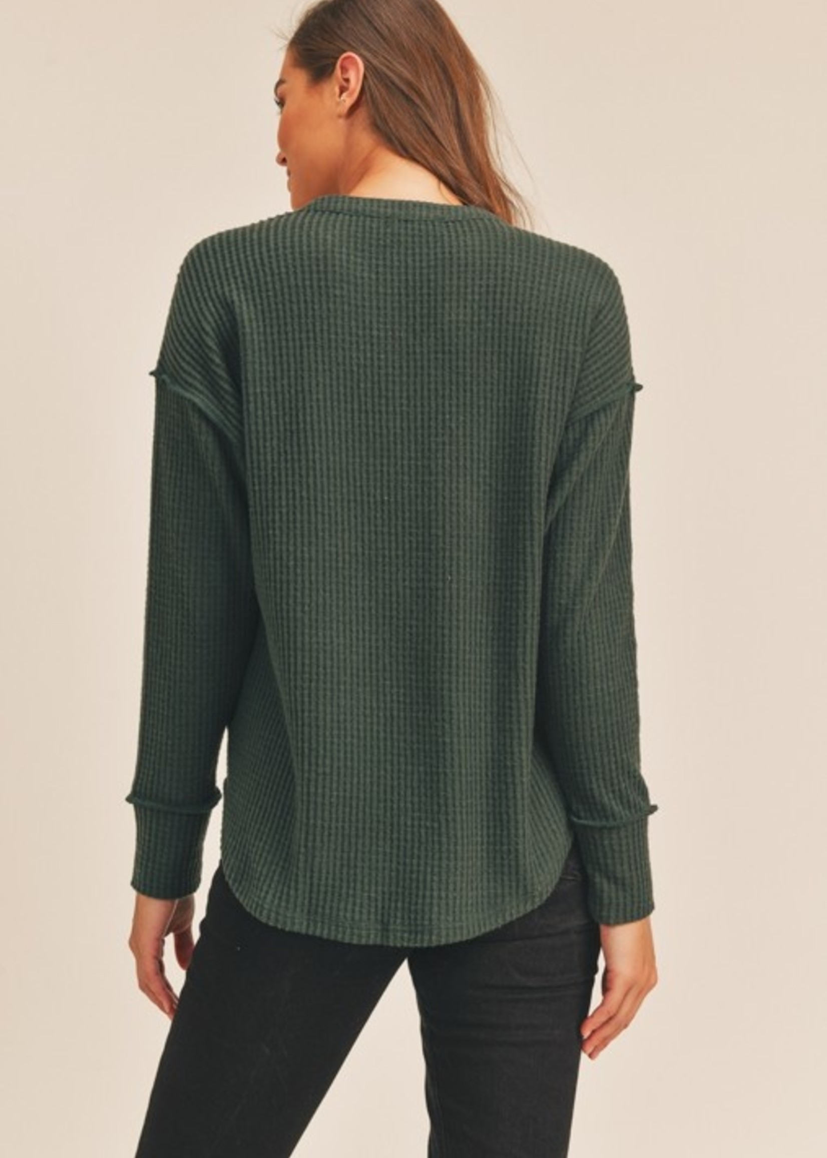 Lush Split Neck Waffle Top - Forest