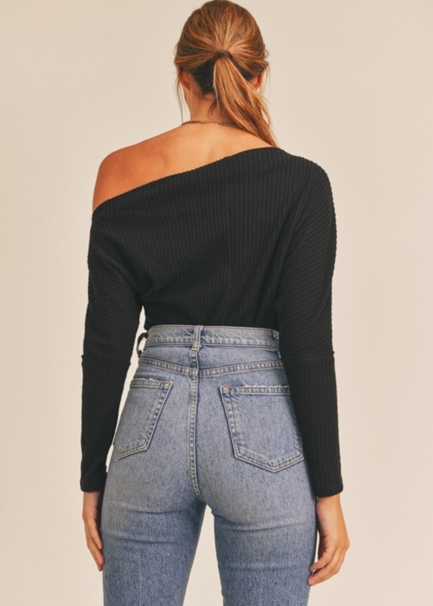Lush Long Sleeve Off the Shoulder - Black
