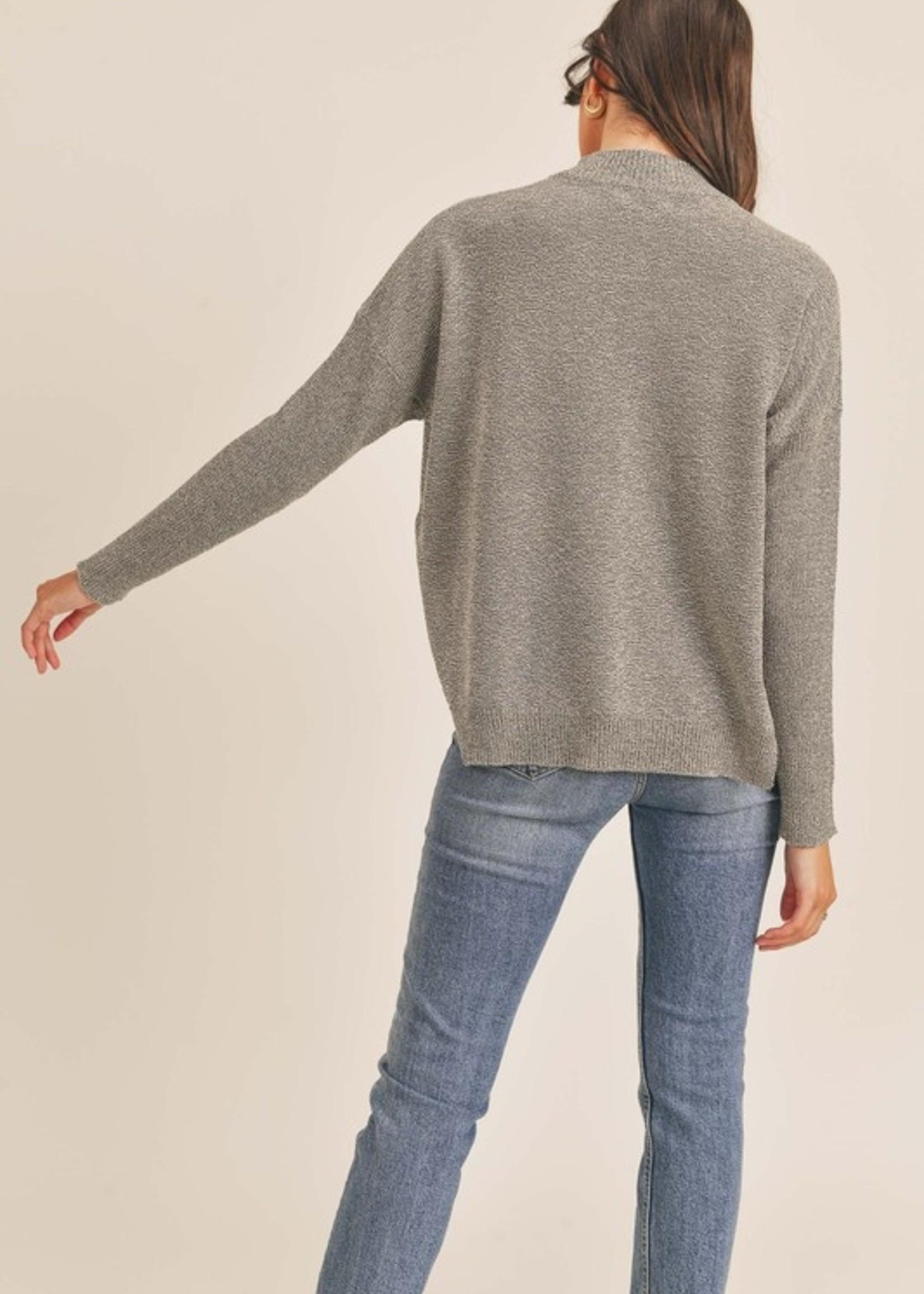Lush Mockneck Pullover Sweater - Heather Grey