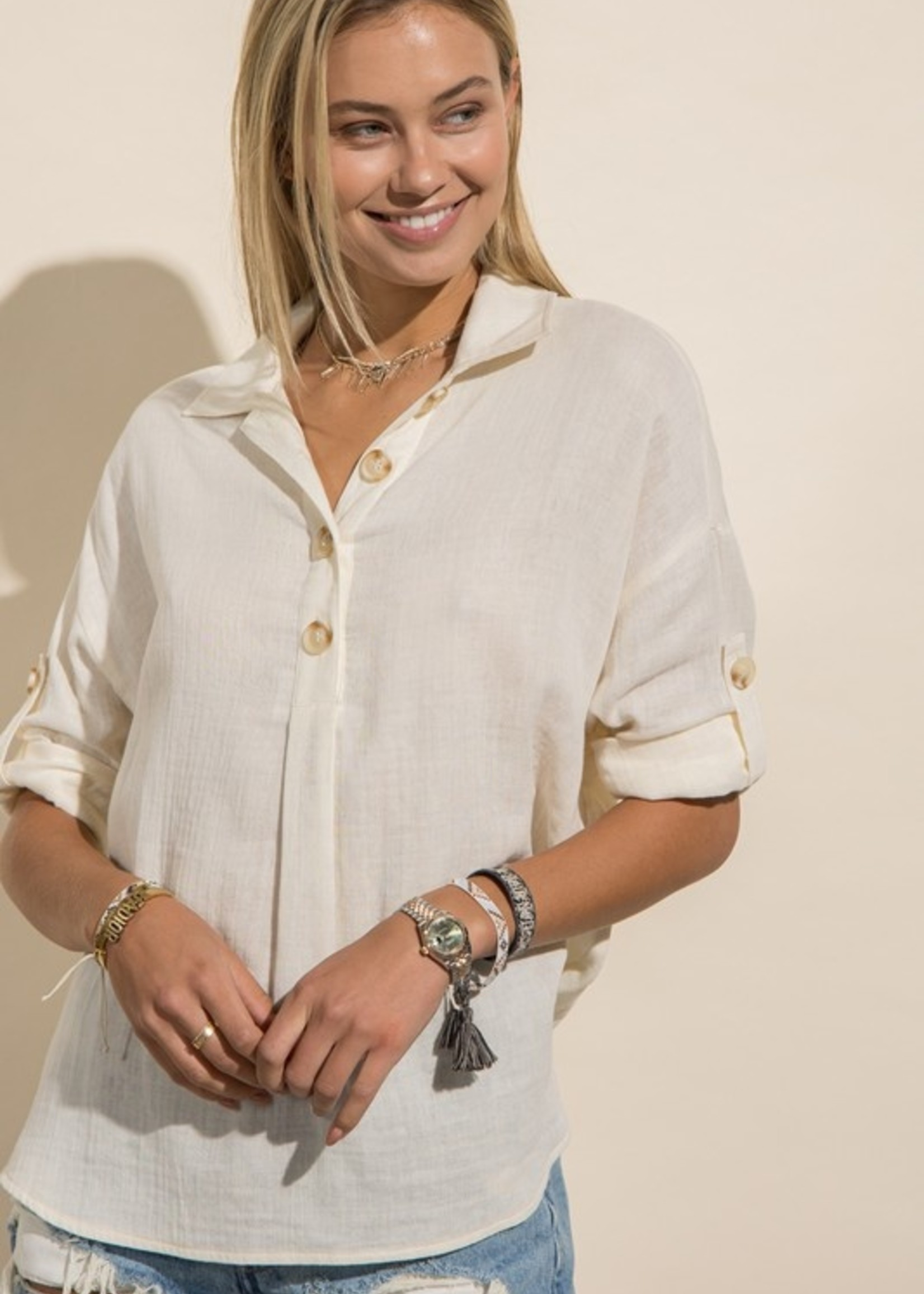 Cotton Shirt with Buttons - Off White