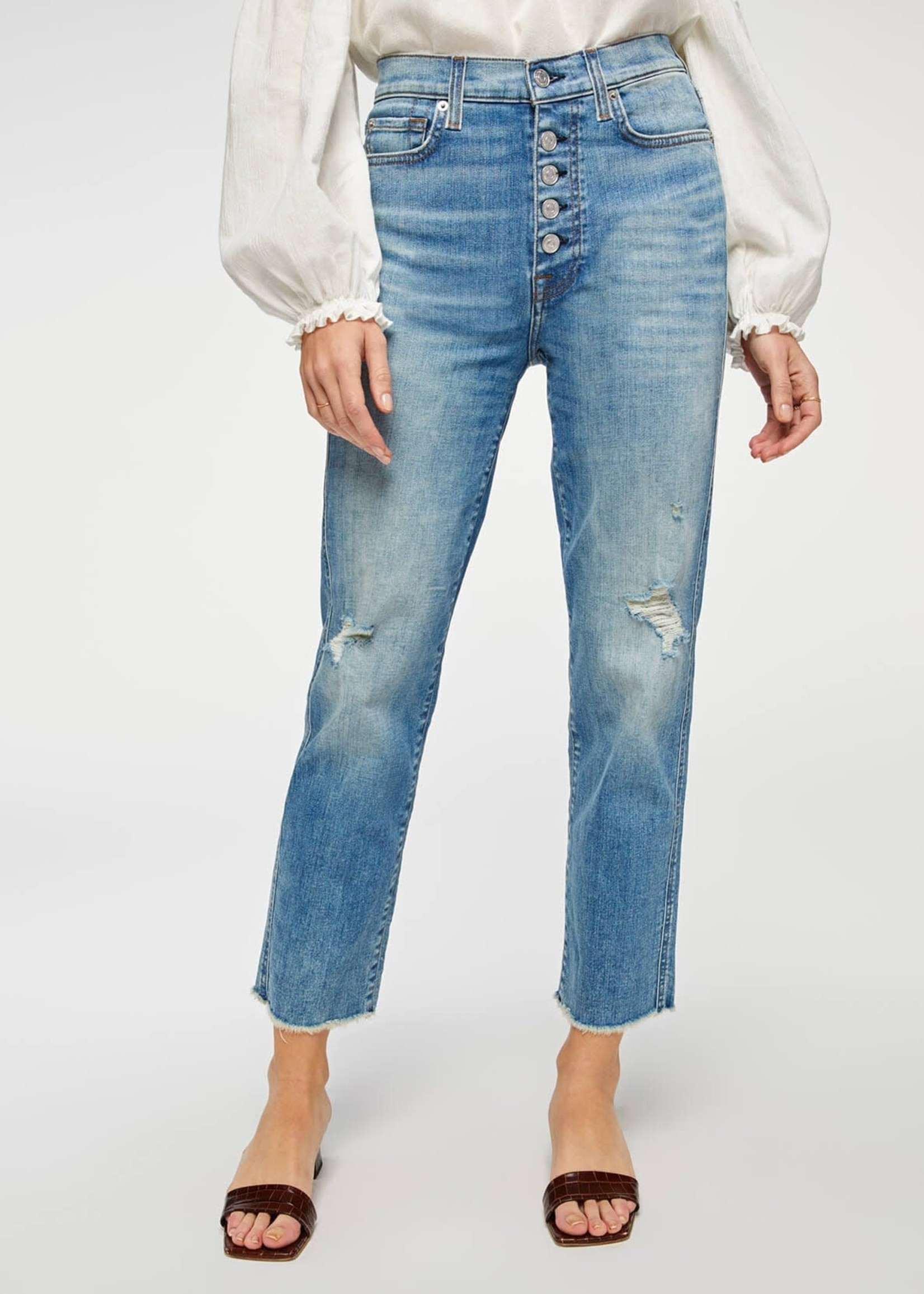 7 for All Mankind Highwaist Crop with Exposed Buttons - Aquarius Destory