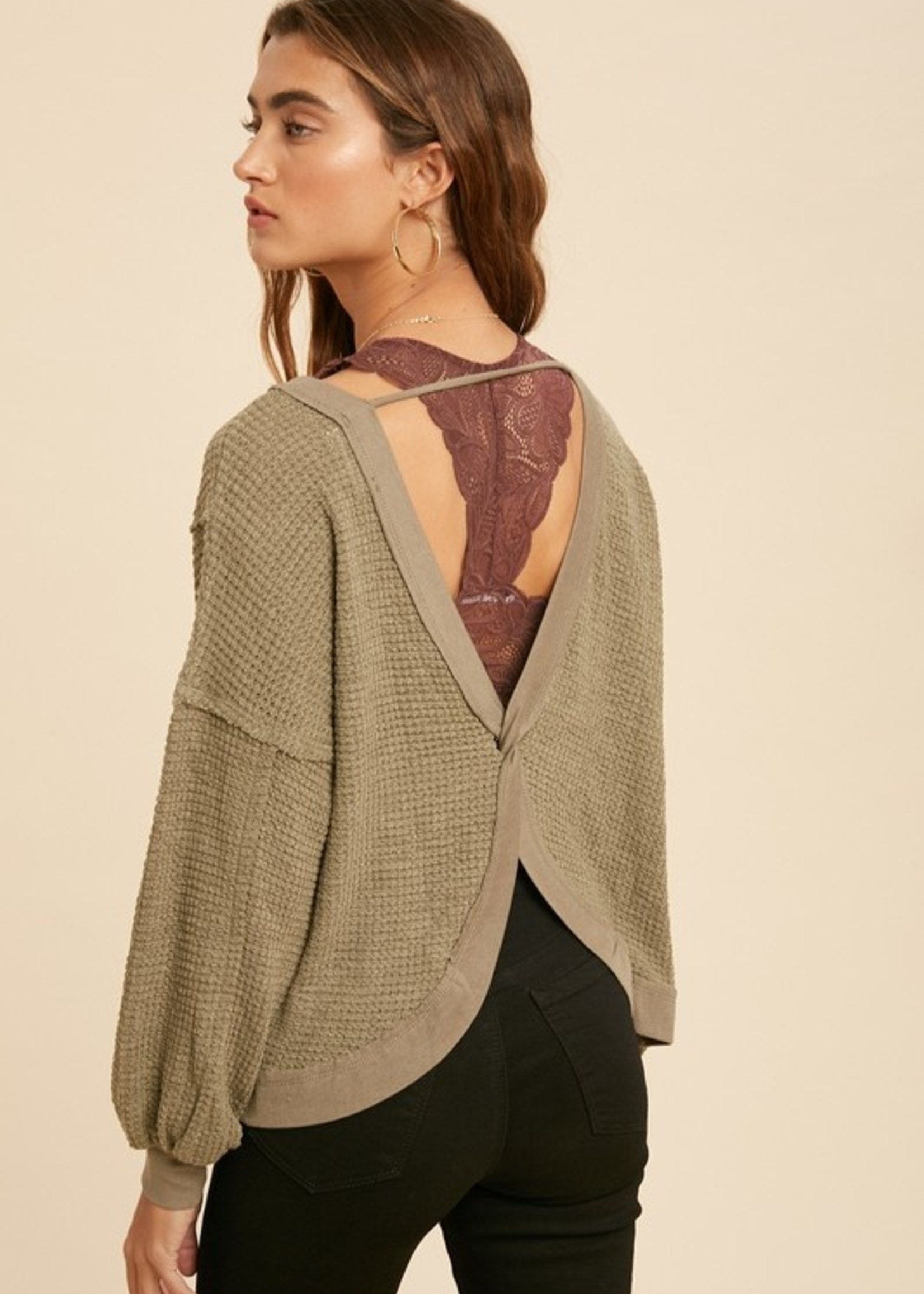 Waffle Long Sleeve with Open Back - Dusty Olive