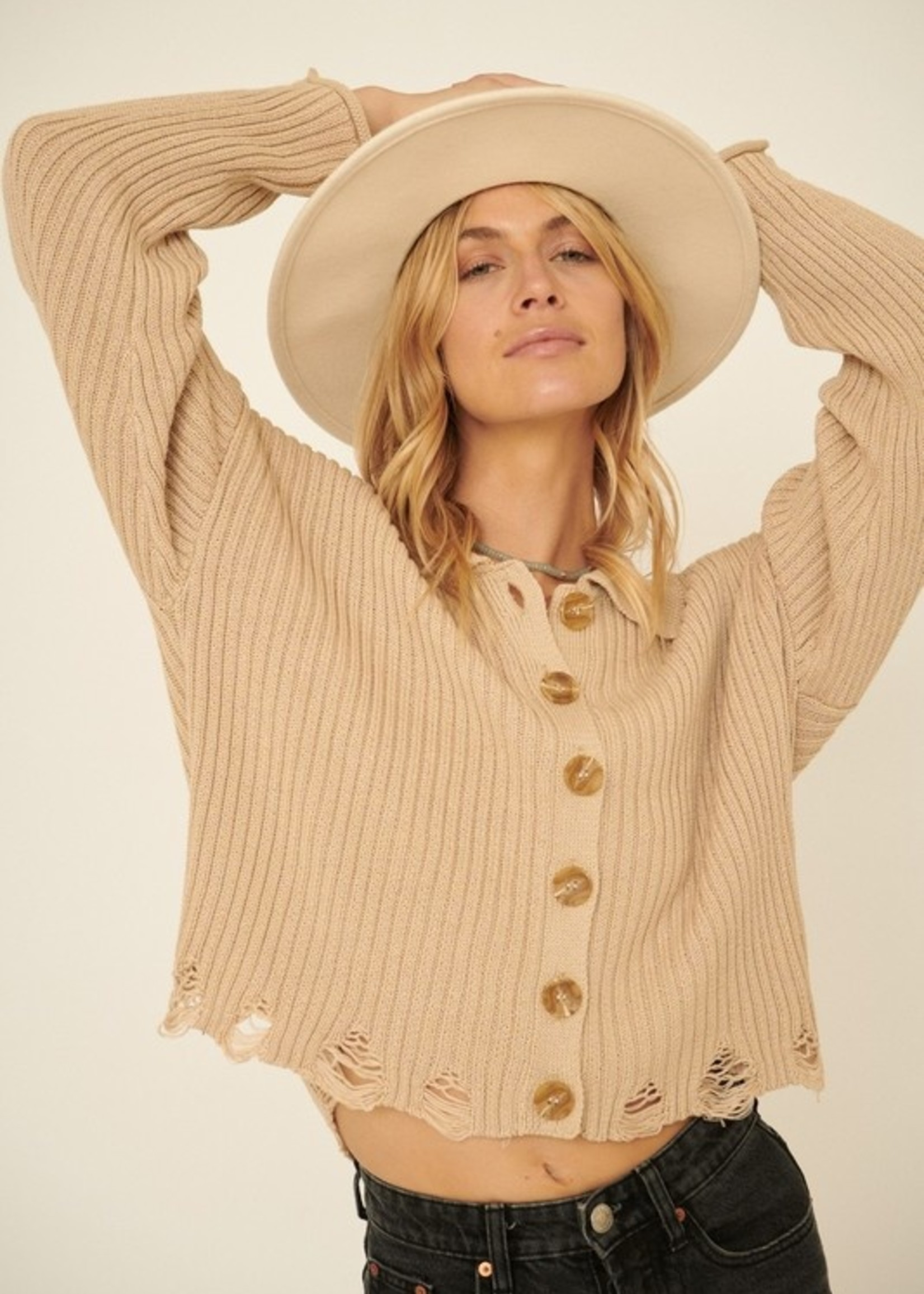 Button Up Sweater with Distressed Bottom - Light Taupe