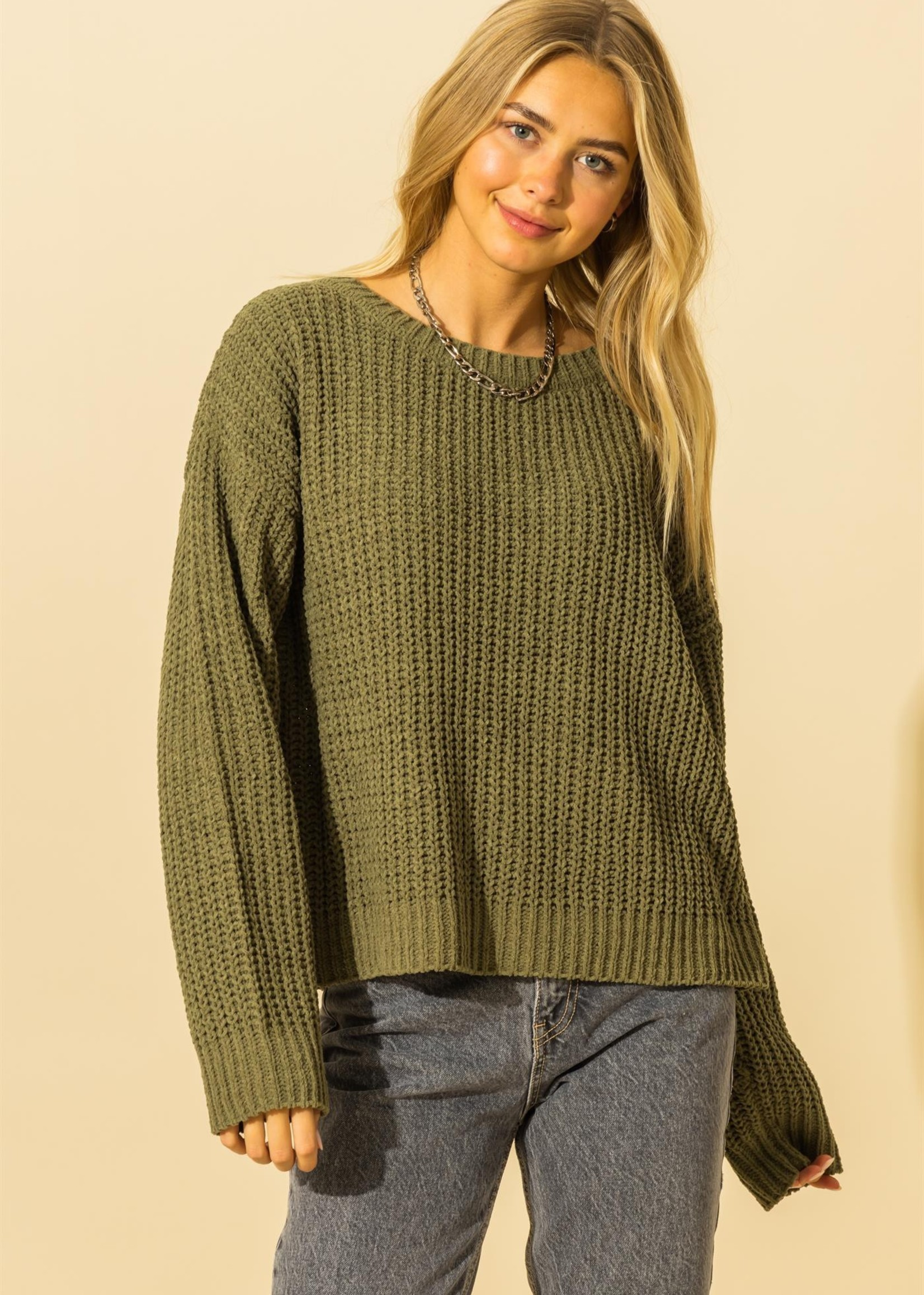 Chenille Ribbed Sweater - Olive