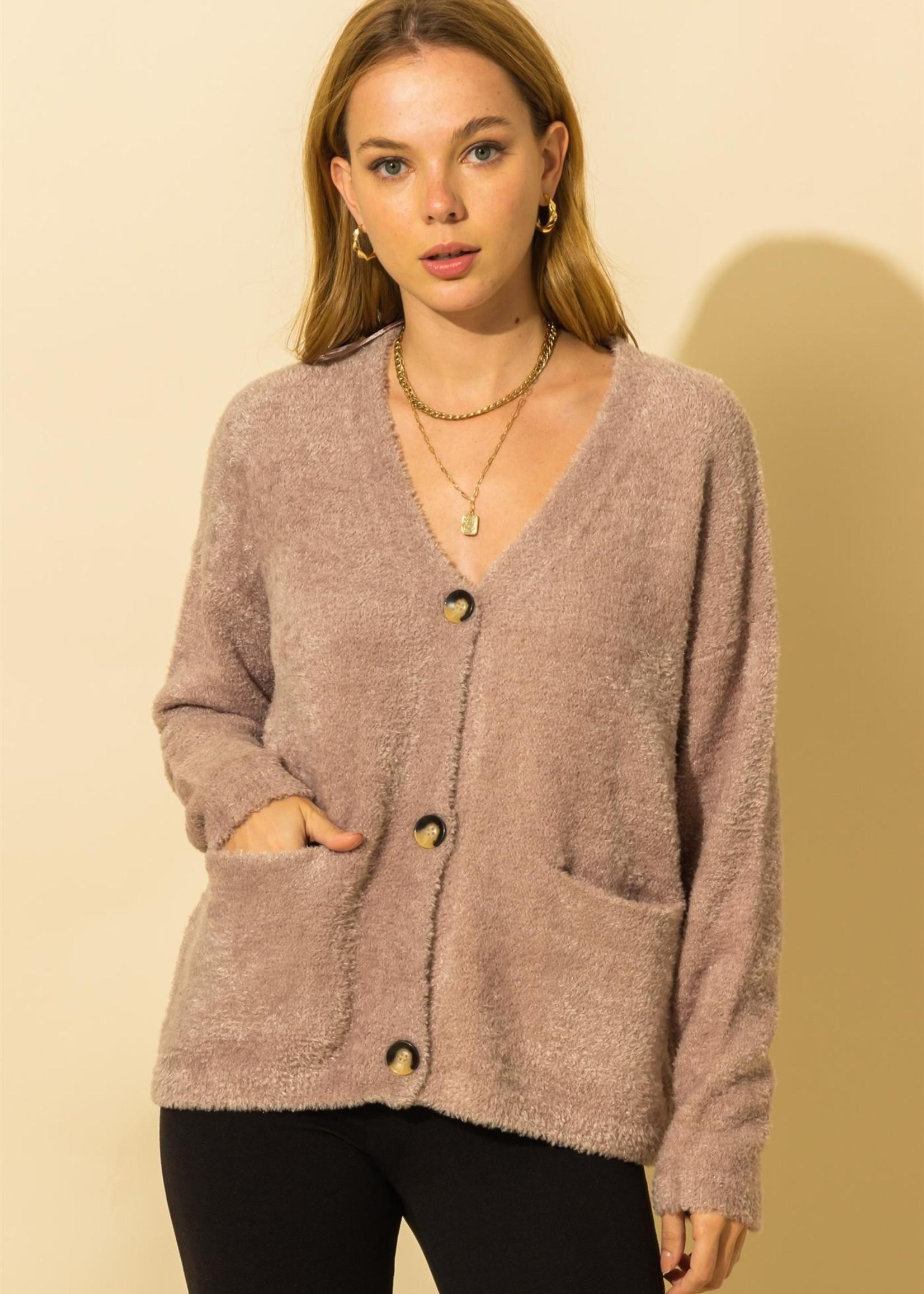Fuzzy Button Up Cardigan - Mocha