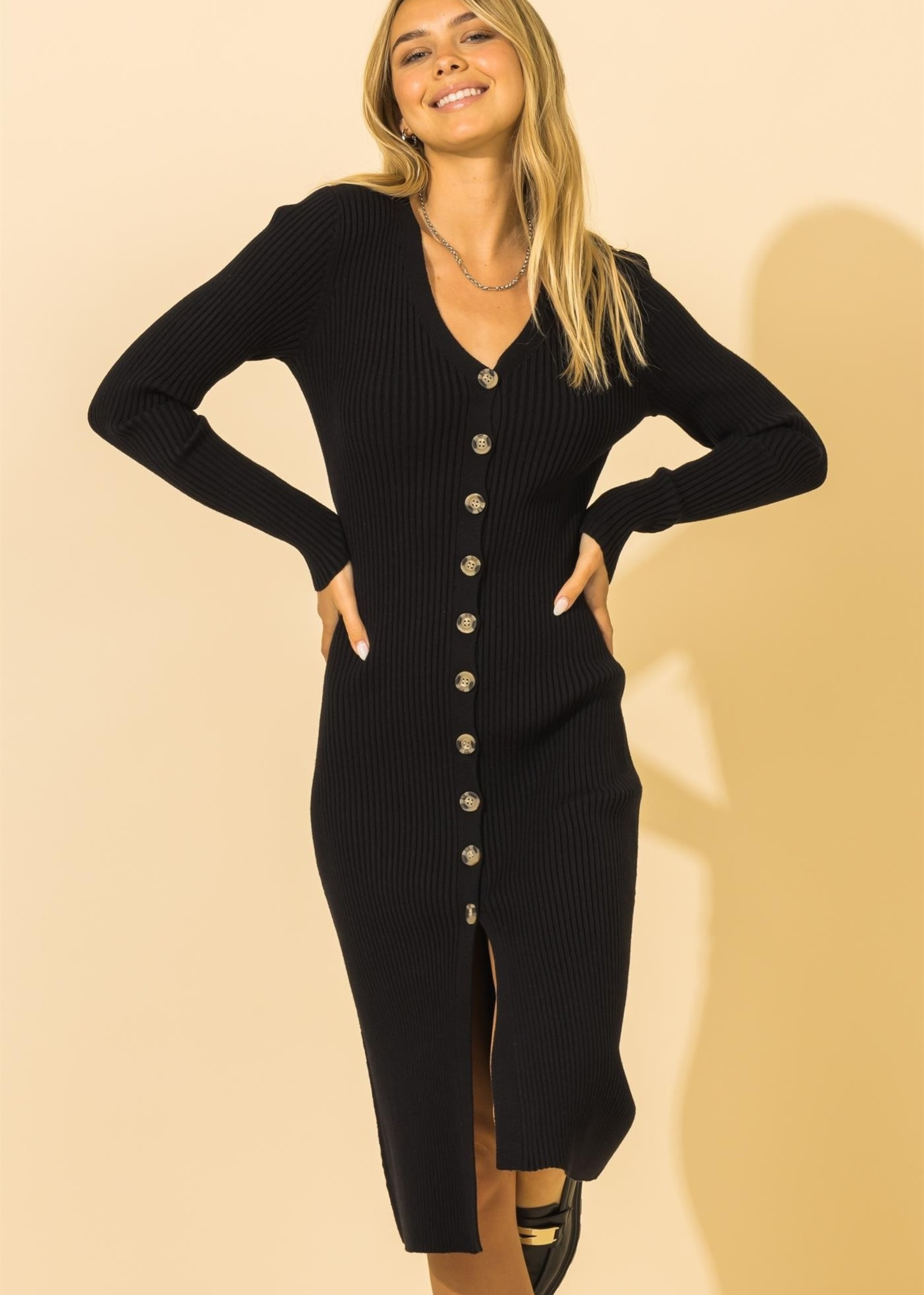 Ribbed Button Up Dress - Black