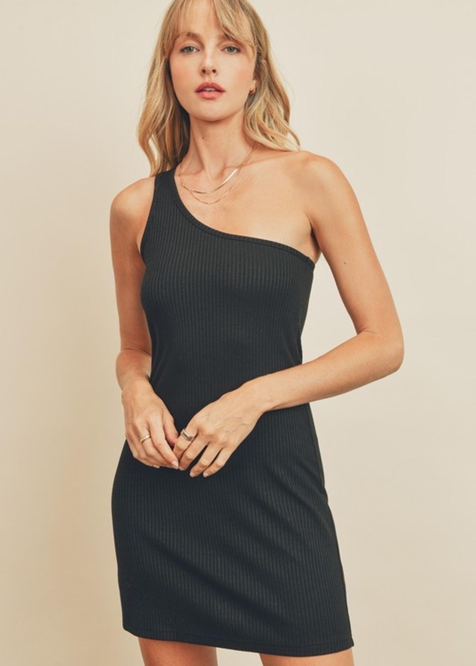 One Shoulder Ribbed Dress - Black