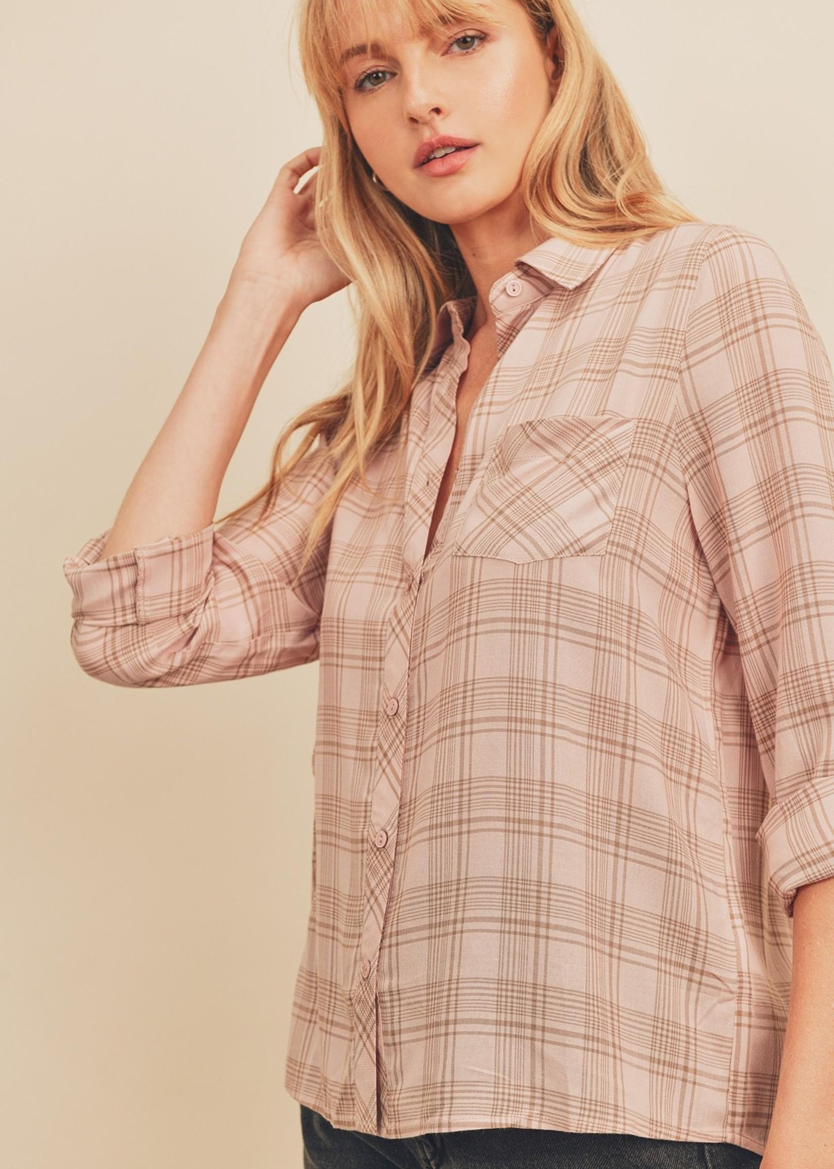 Plaid Button Down Shirt - Blush/Taupe