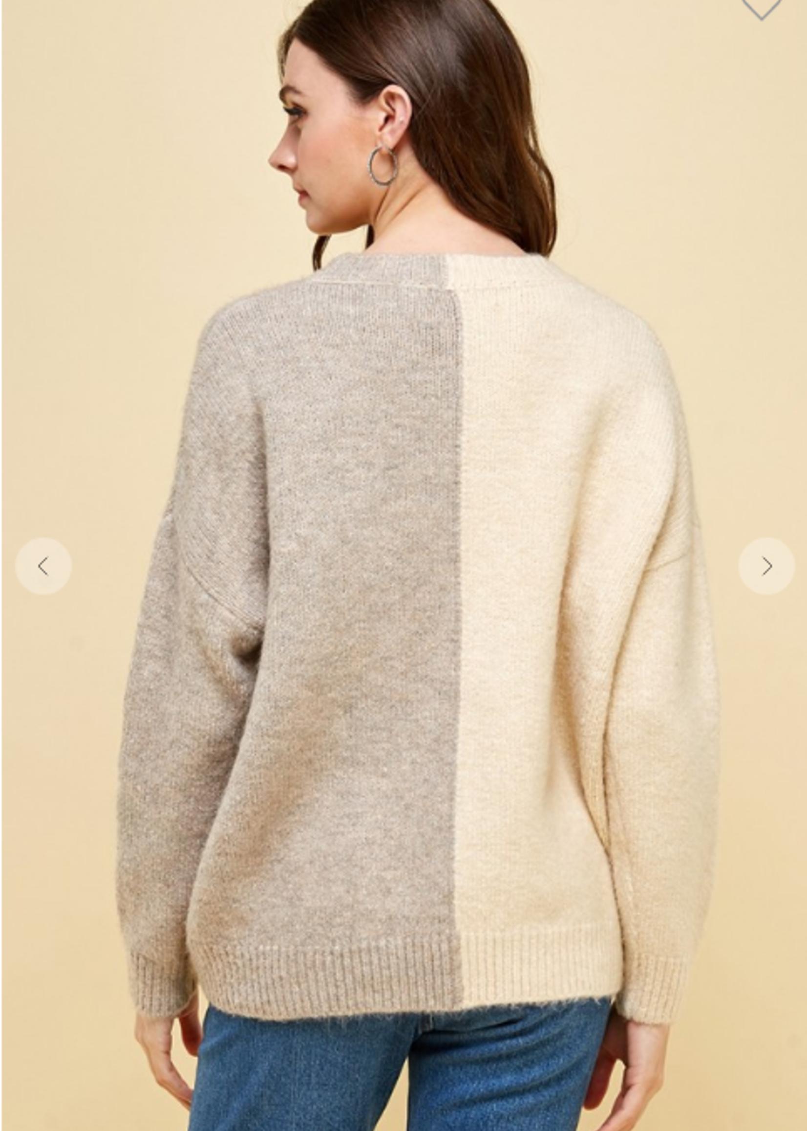 Colorblock Sweater - Beige Multi