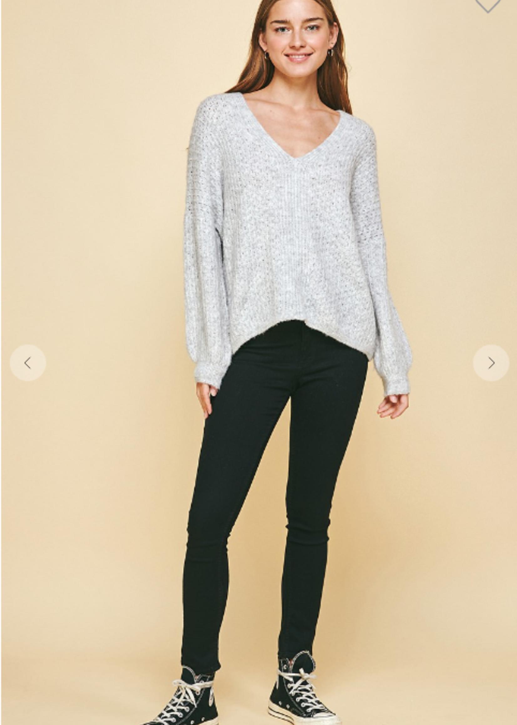 Open Knit V Neck Sweater - Heather Grey
