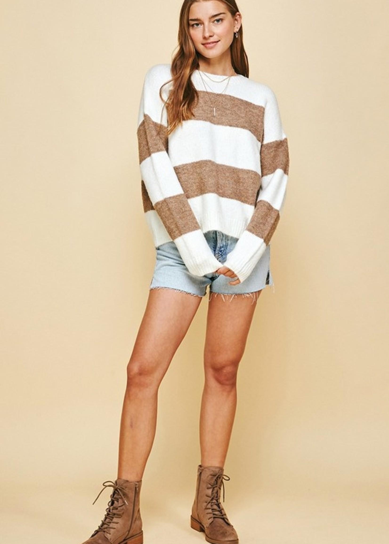 Wide Stripe Sweater - Camel/Ivory