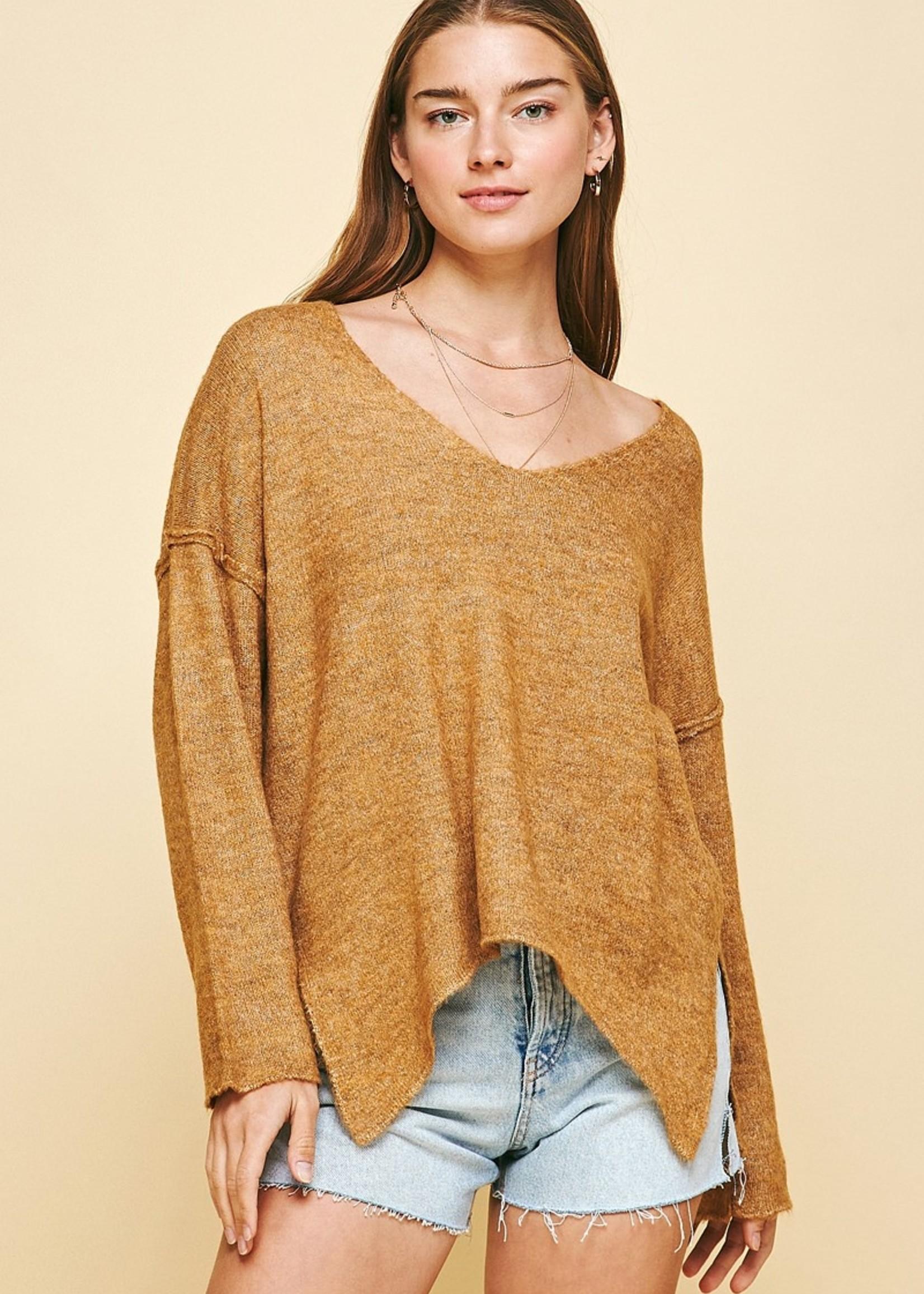Soft V Neck Sweater - Mustard