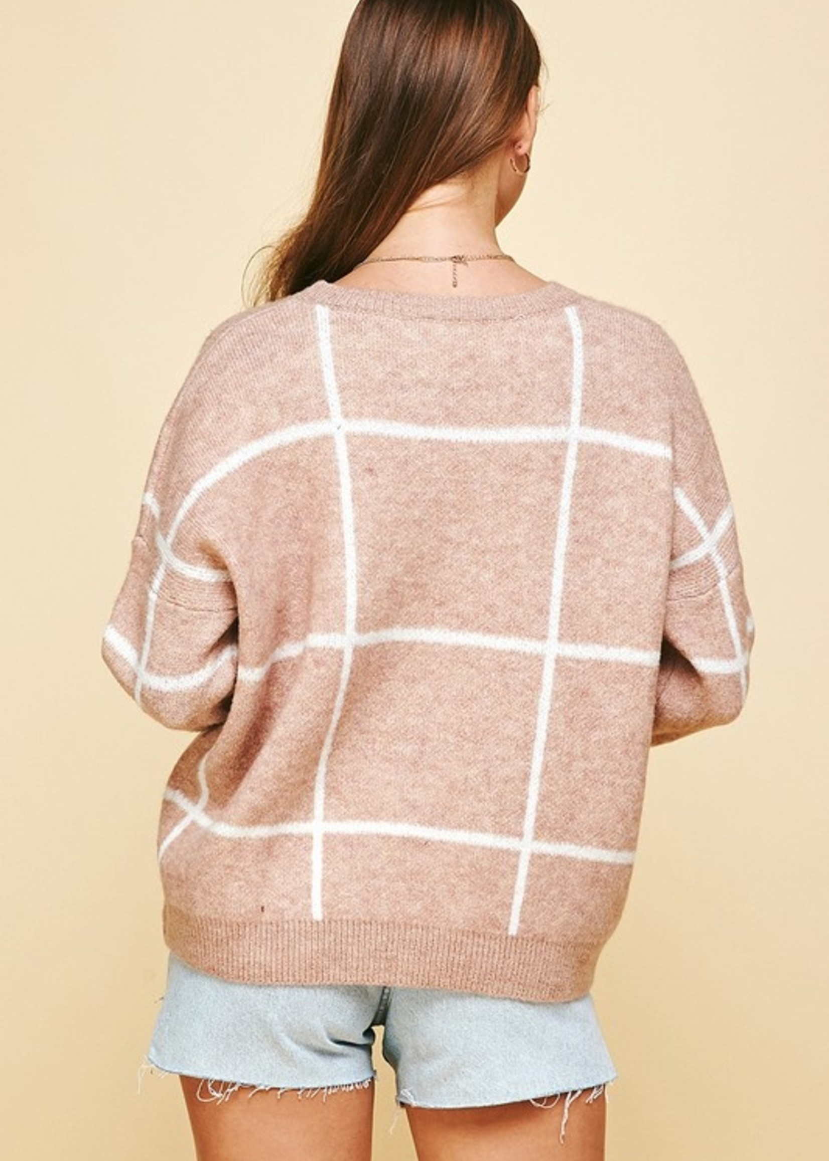 Checked Pullover Sweater -Mauve