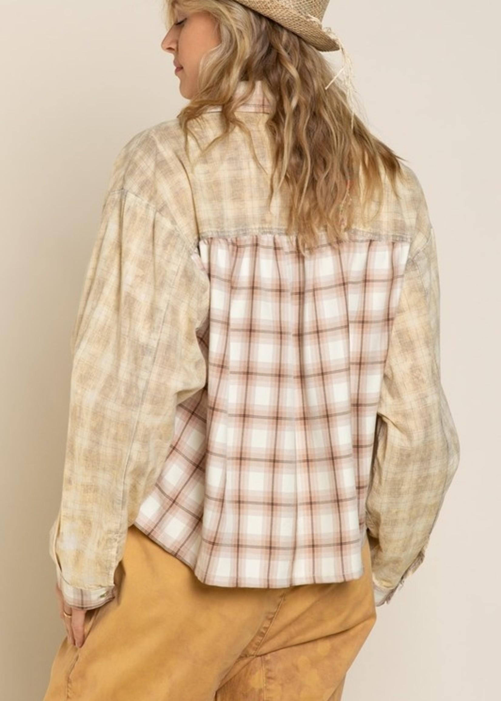 Plaid Button Up - Beige/Brown Plaid