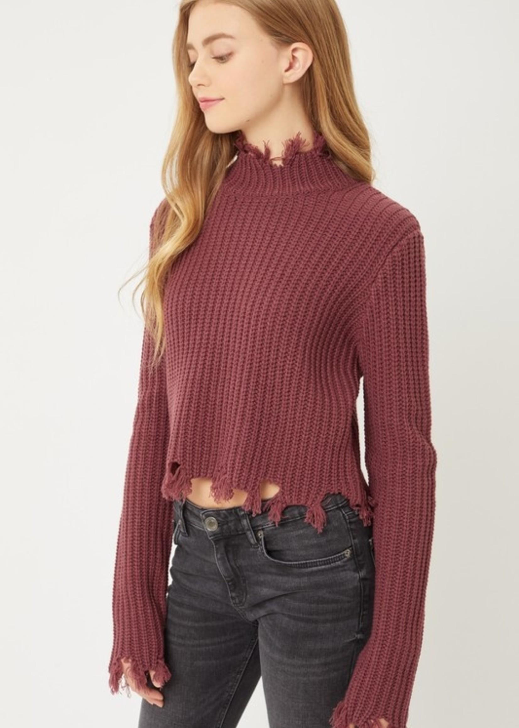 Distressed Crew Neck Sweater - Cherry Stone