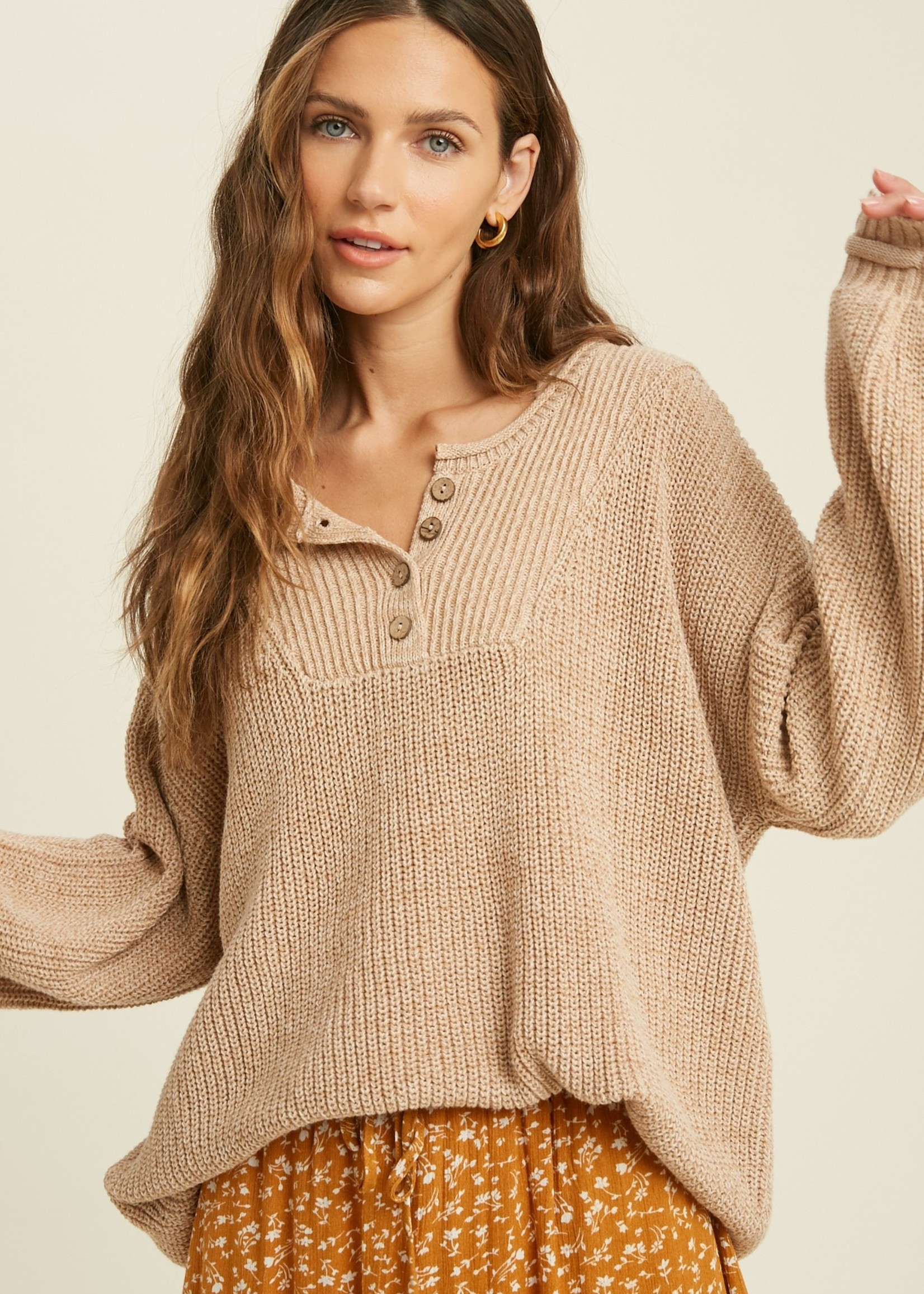 Button Up Sweater - Taupe