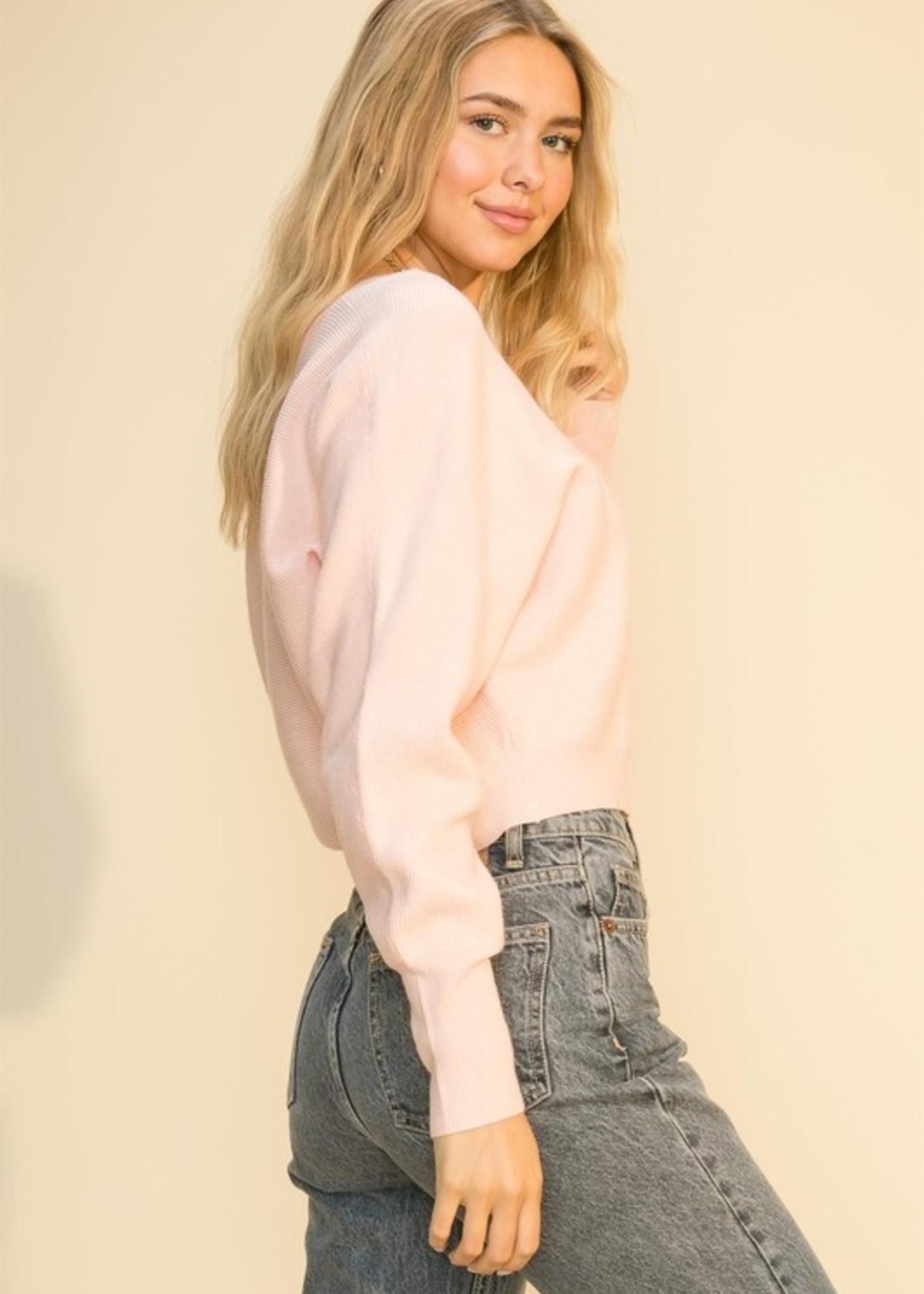 Dolman Sleeve V Neck Sweater - Pale Pink