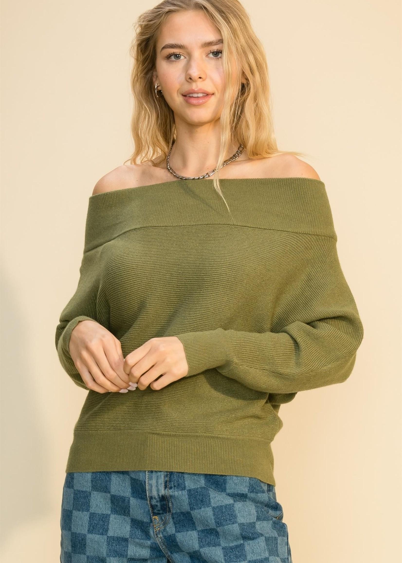 Off Shoulder Sweater - Olive