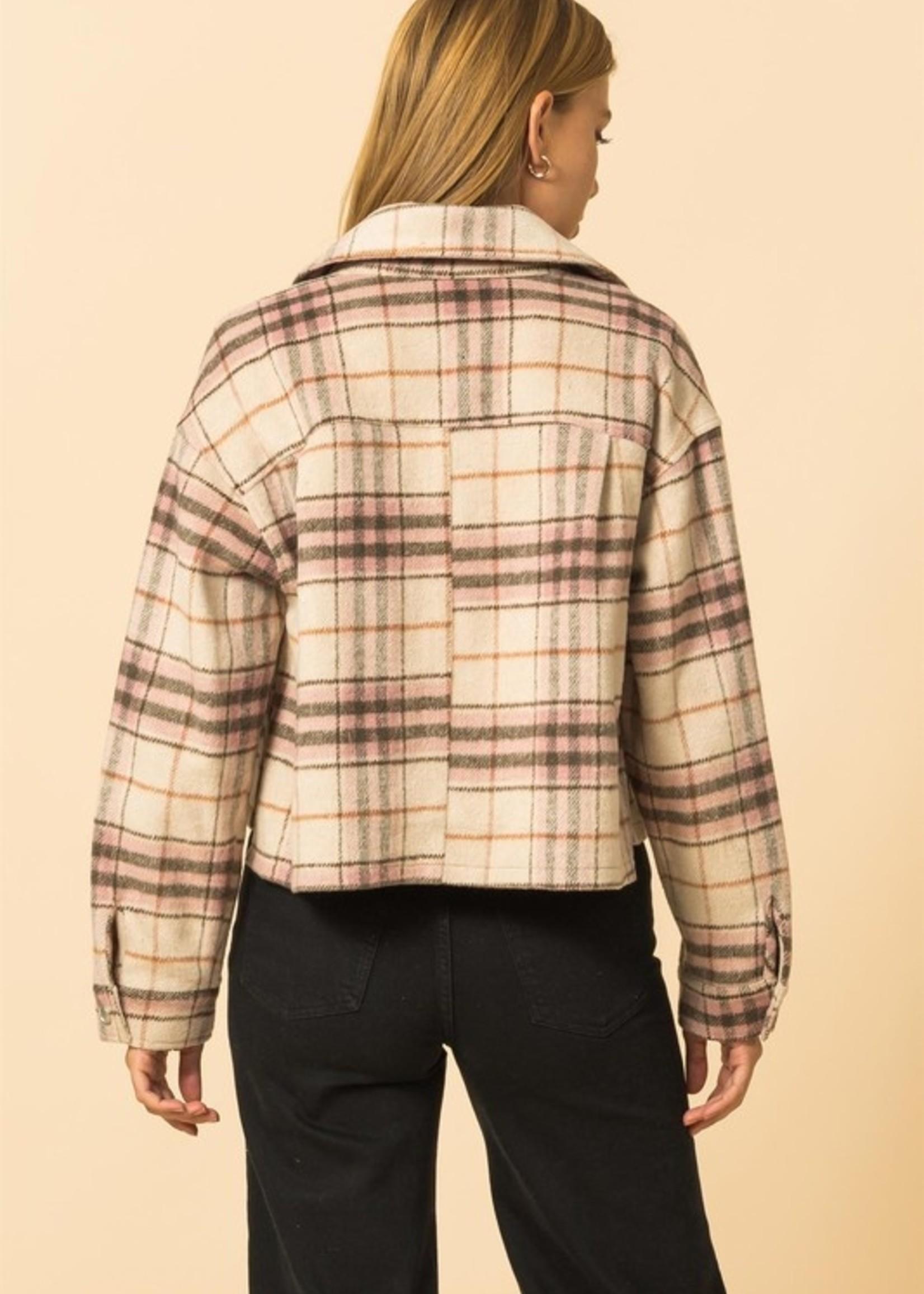 Plaid Button Down Jacket - Pink