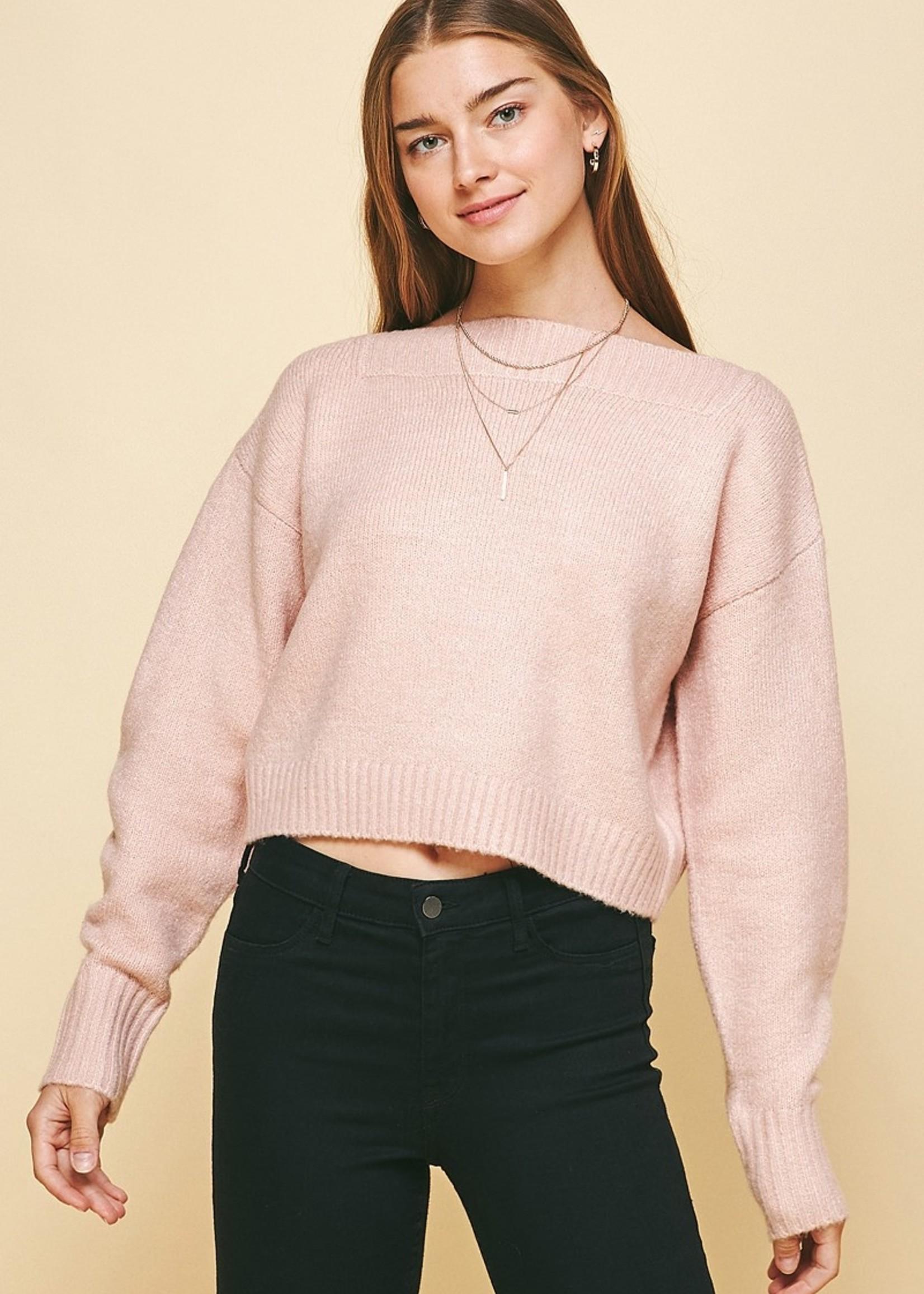 Boatneck Soft Sweater - Pink
