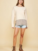 Crewneck Sweater with Side Slits - Beige