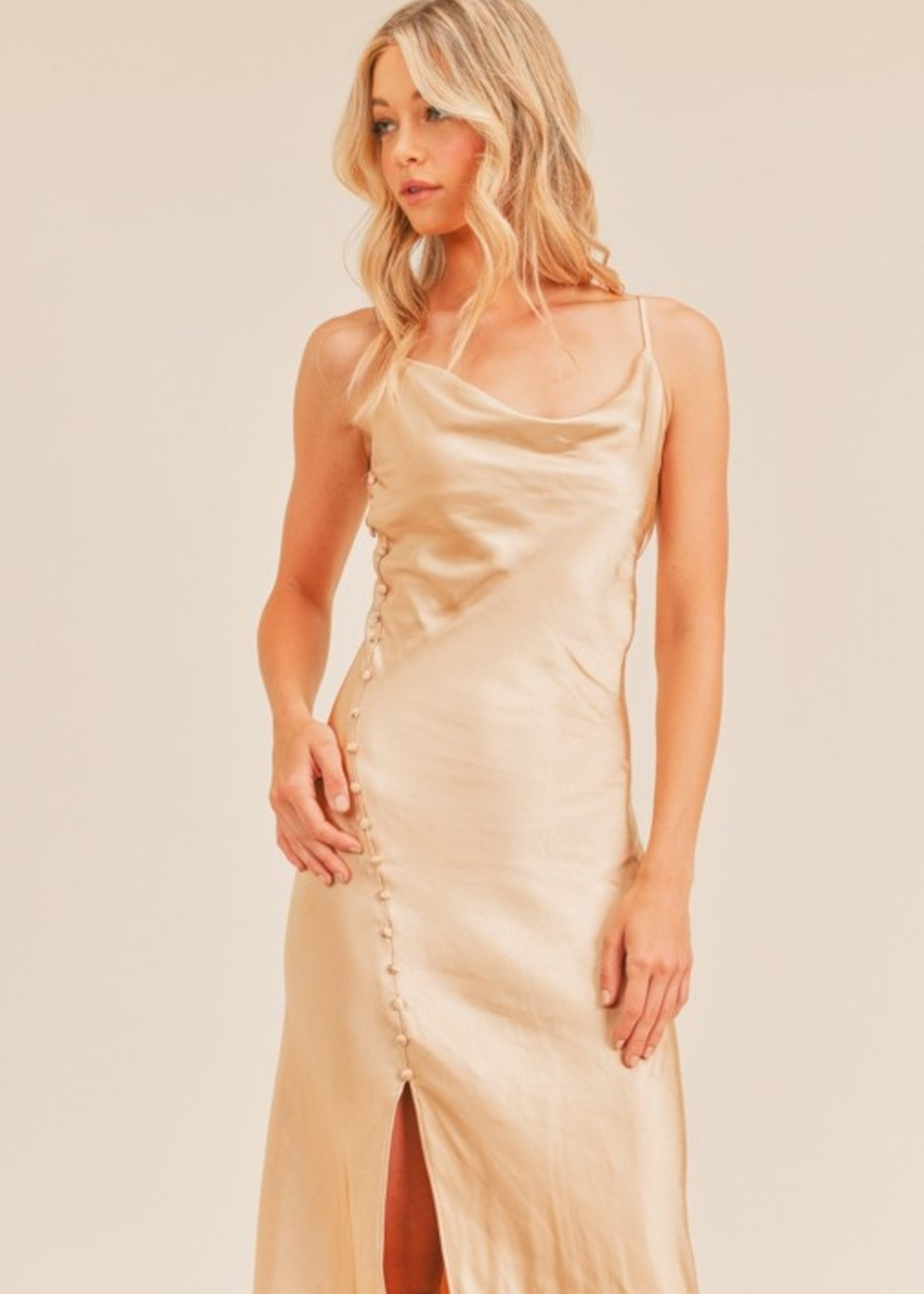 Lush Satin Slip Dress - Champagne