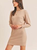 Lush Sweater Dress w/Puff Sleeves - Taupe
