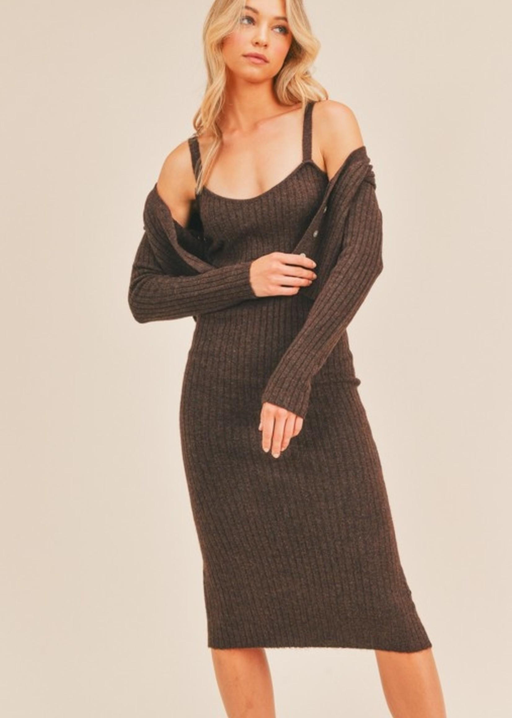 Lush Ribbed Dress & Cardigan Set - Brunette