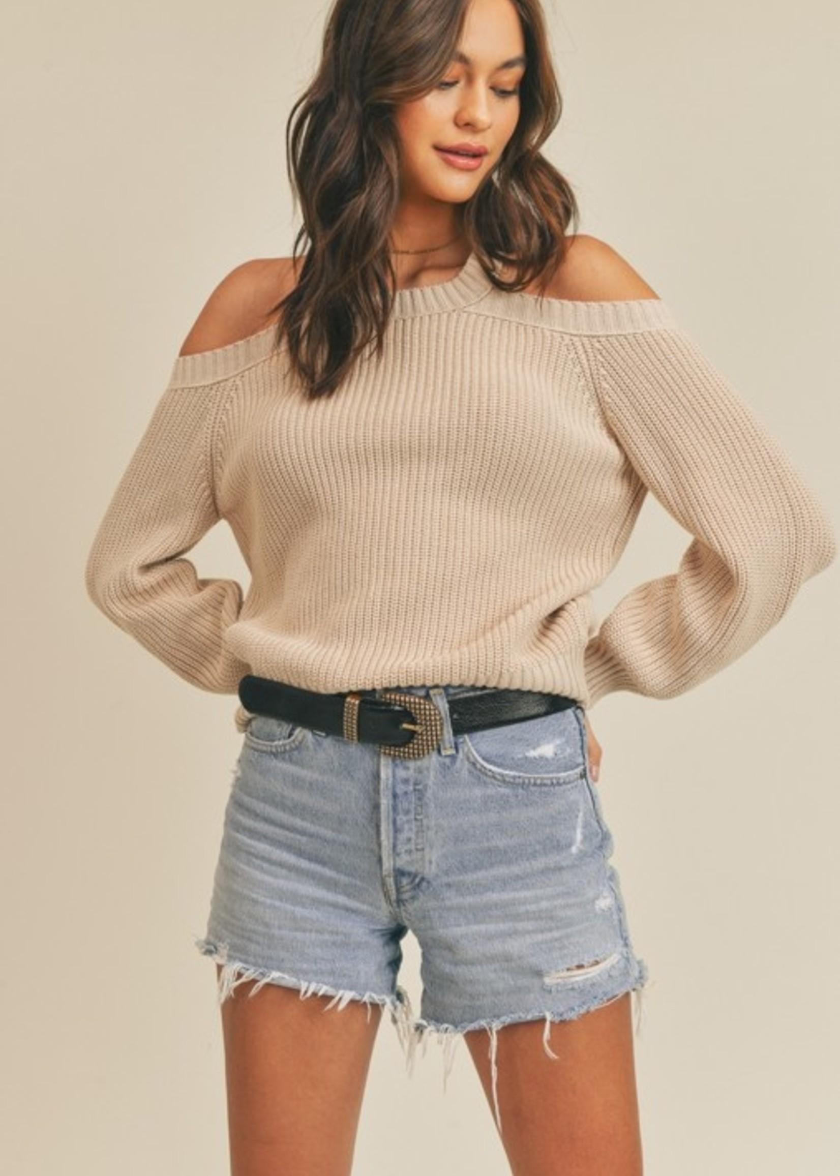 Lush Cutout Shoulder Sweater - Oat