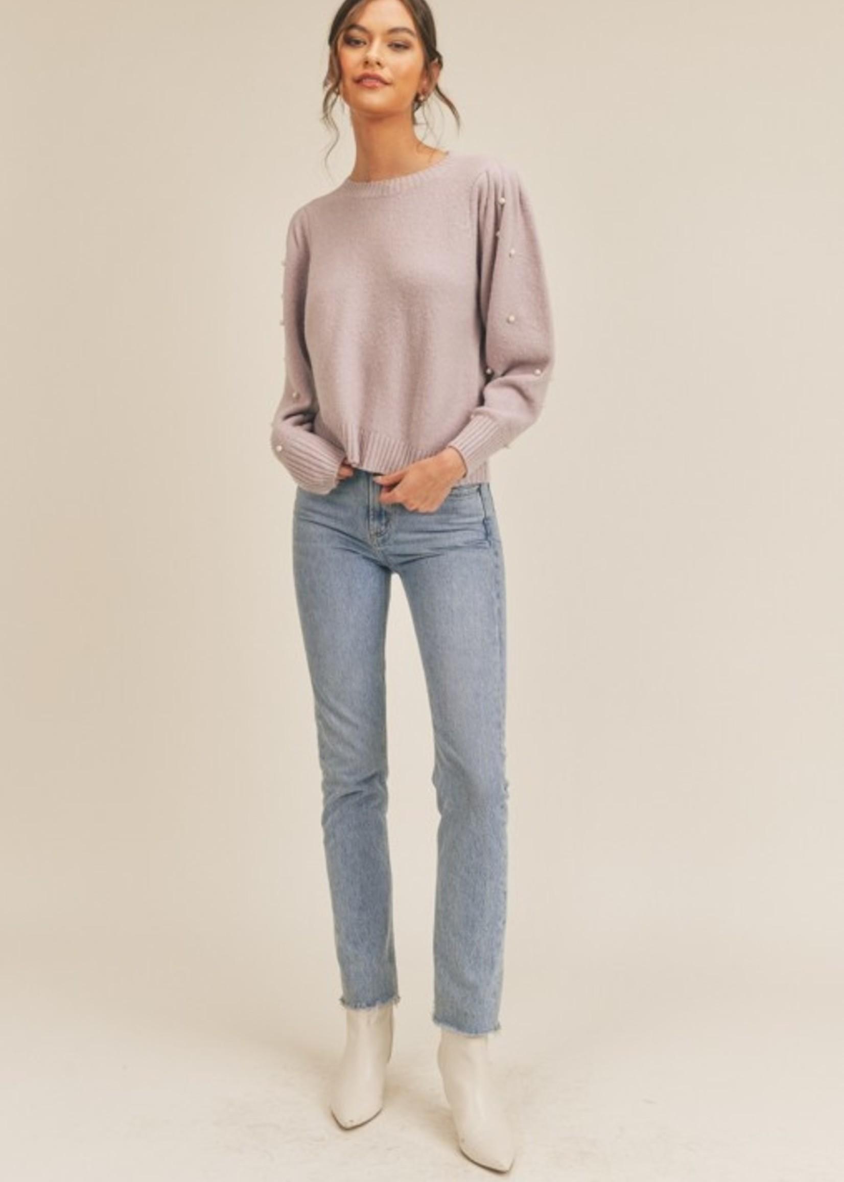 Lush Pearl Embellished Sweater - Lilac