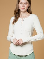 Snap Henley Brushed Top - Cream