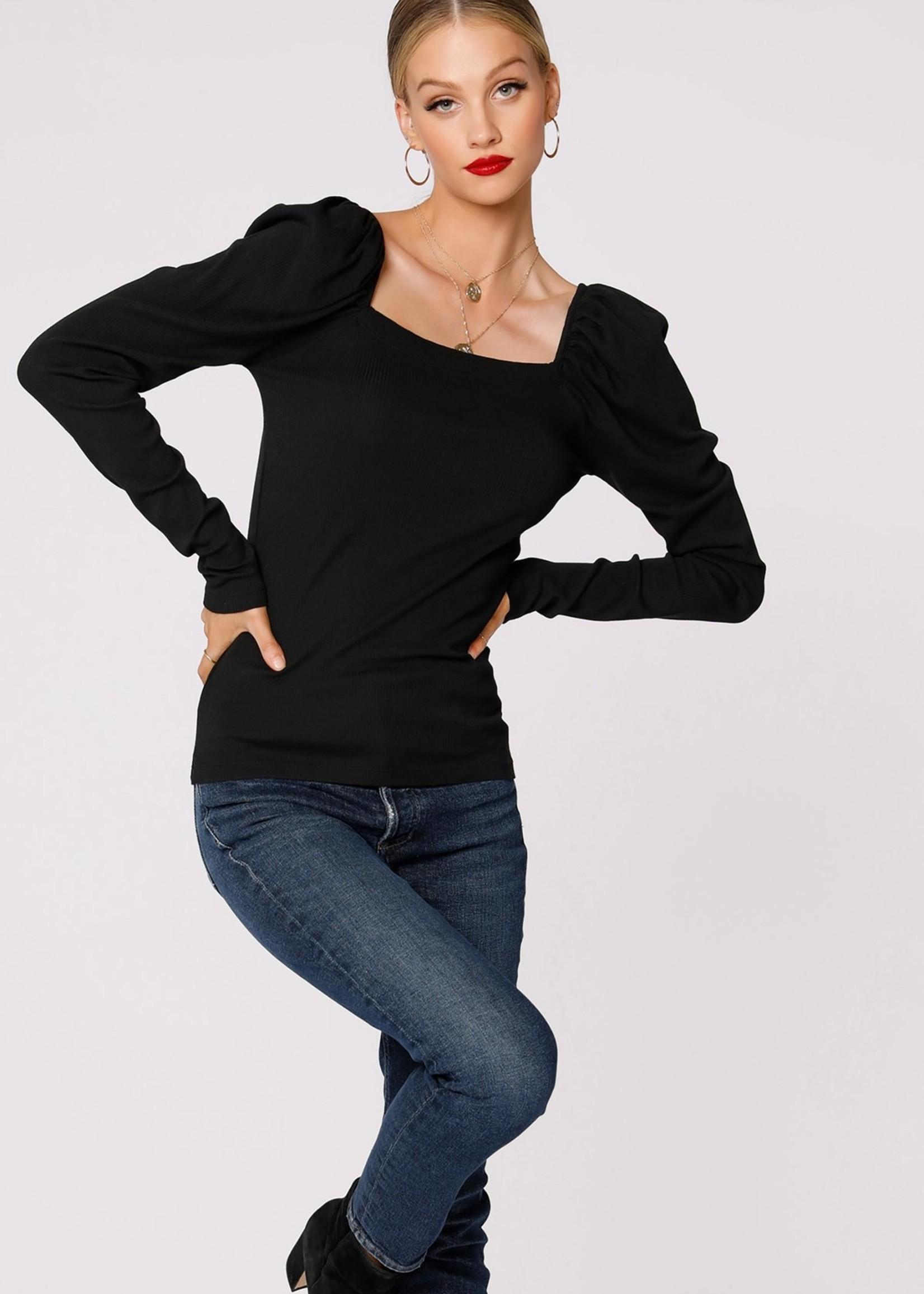 Bobi Shirred Sleeve Top - Black