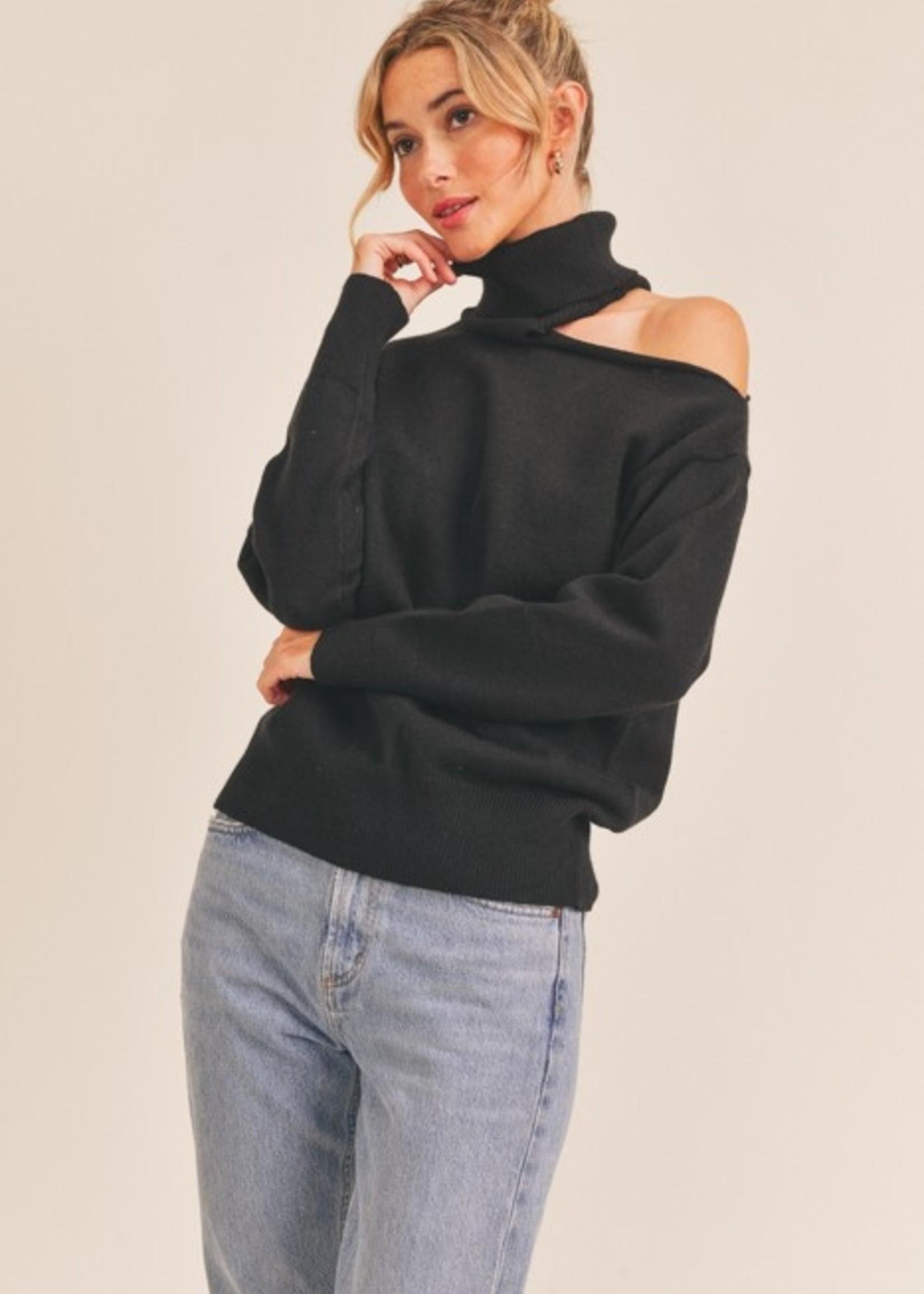 Lush Cutout Turtleneck Sweater - Black