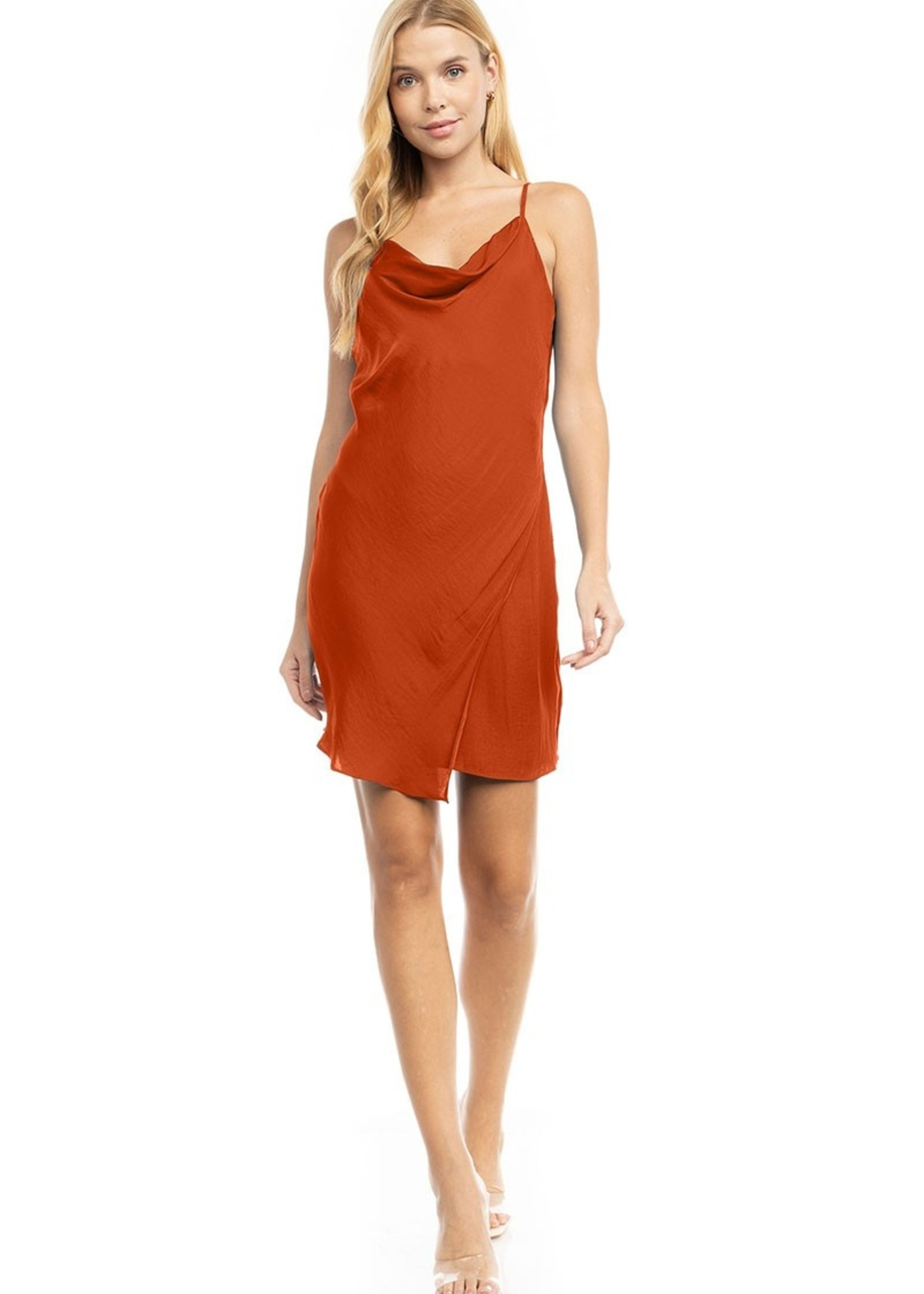 Cowl Neck Dress - Copper