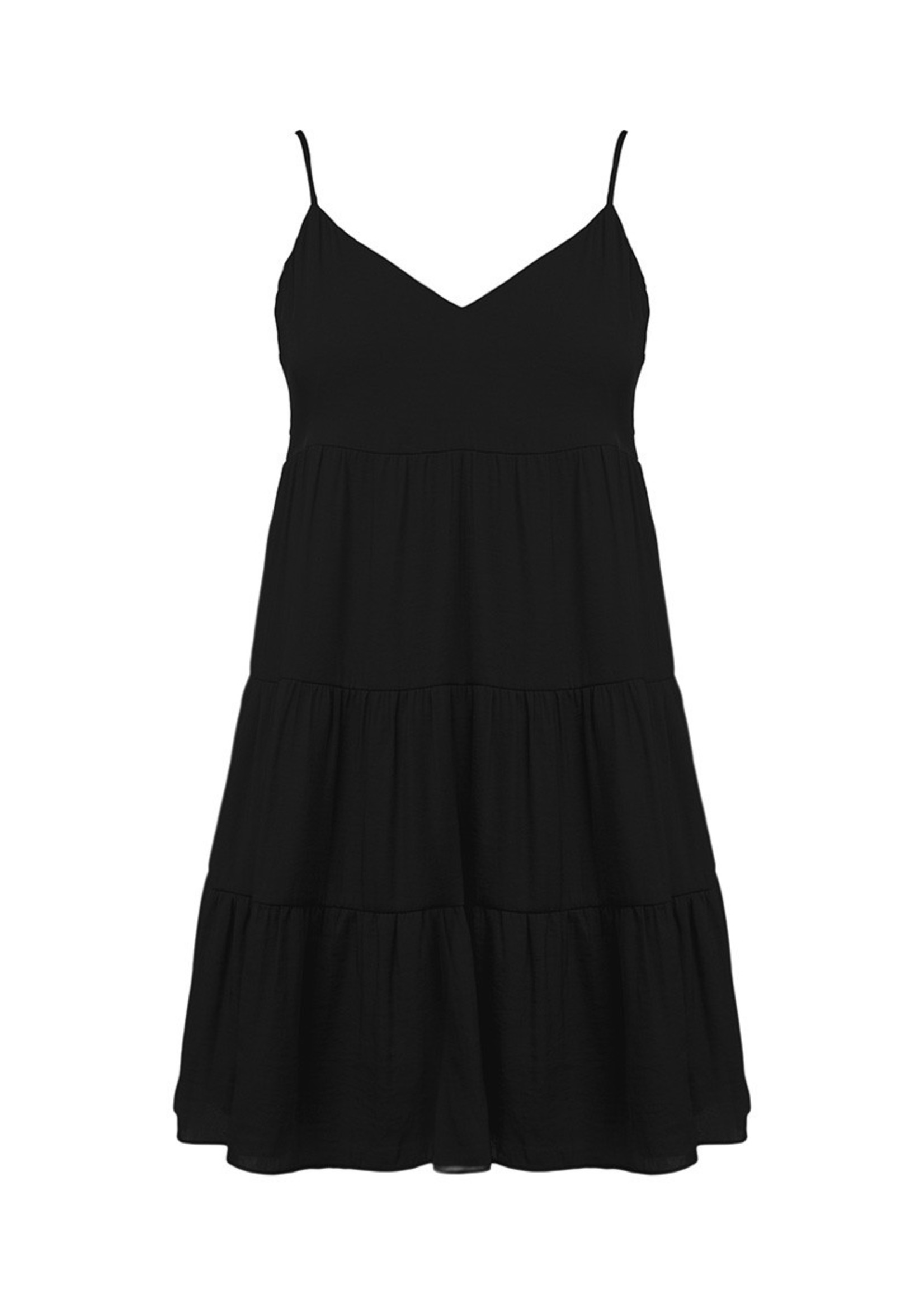 Midi Flare Tiered Dress - Black