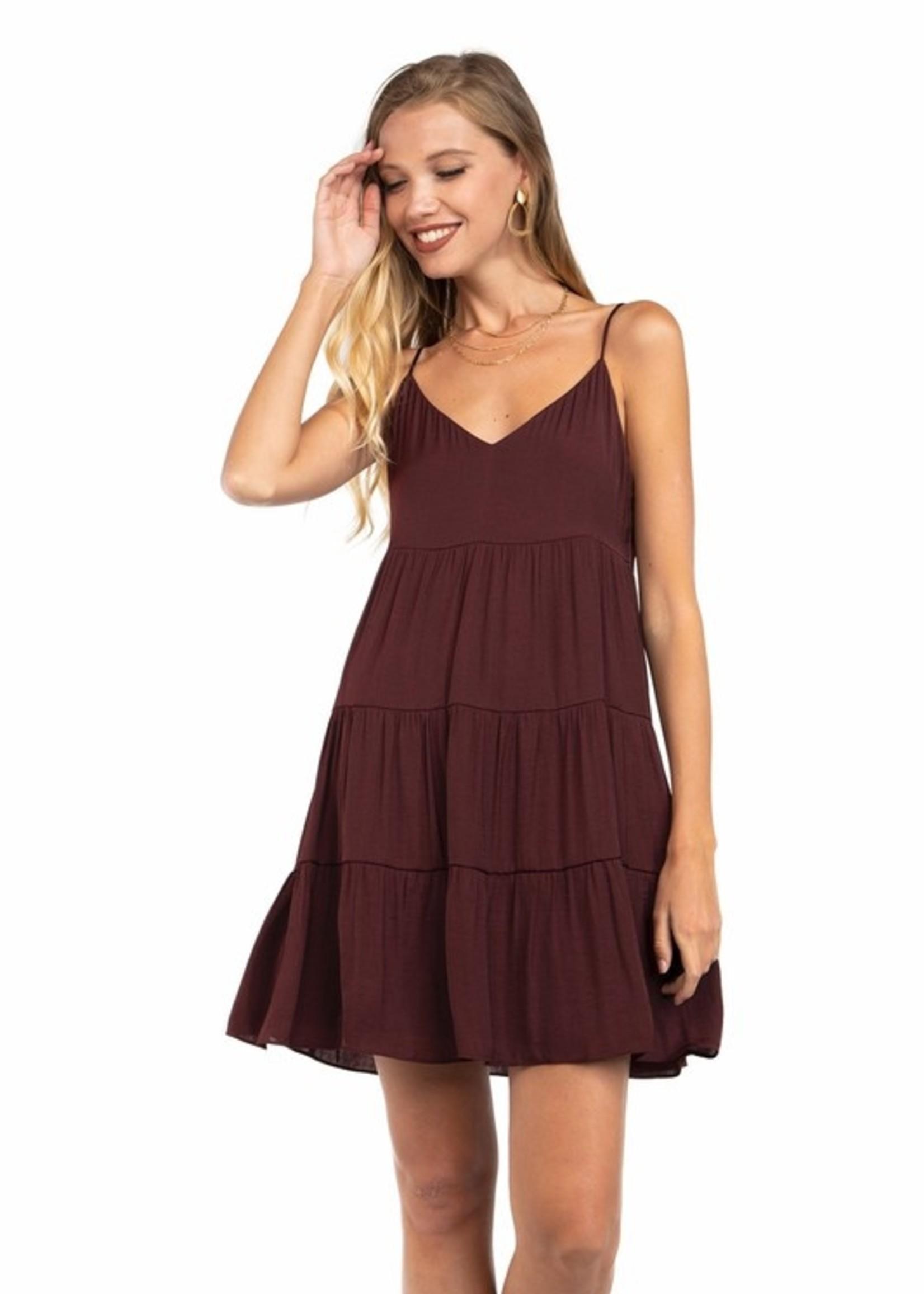 Midi Flare Tiered Dress - Merlot