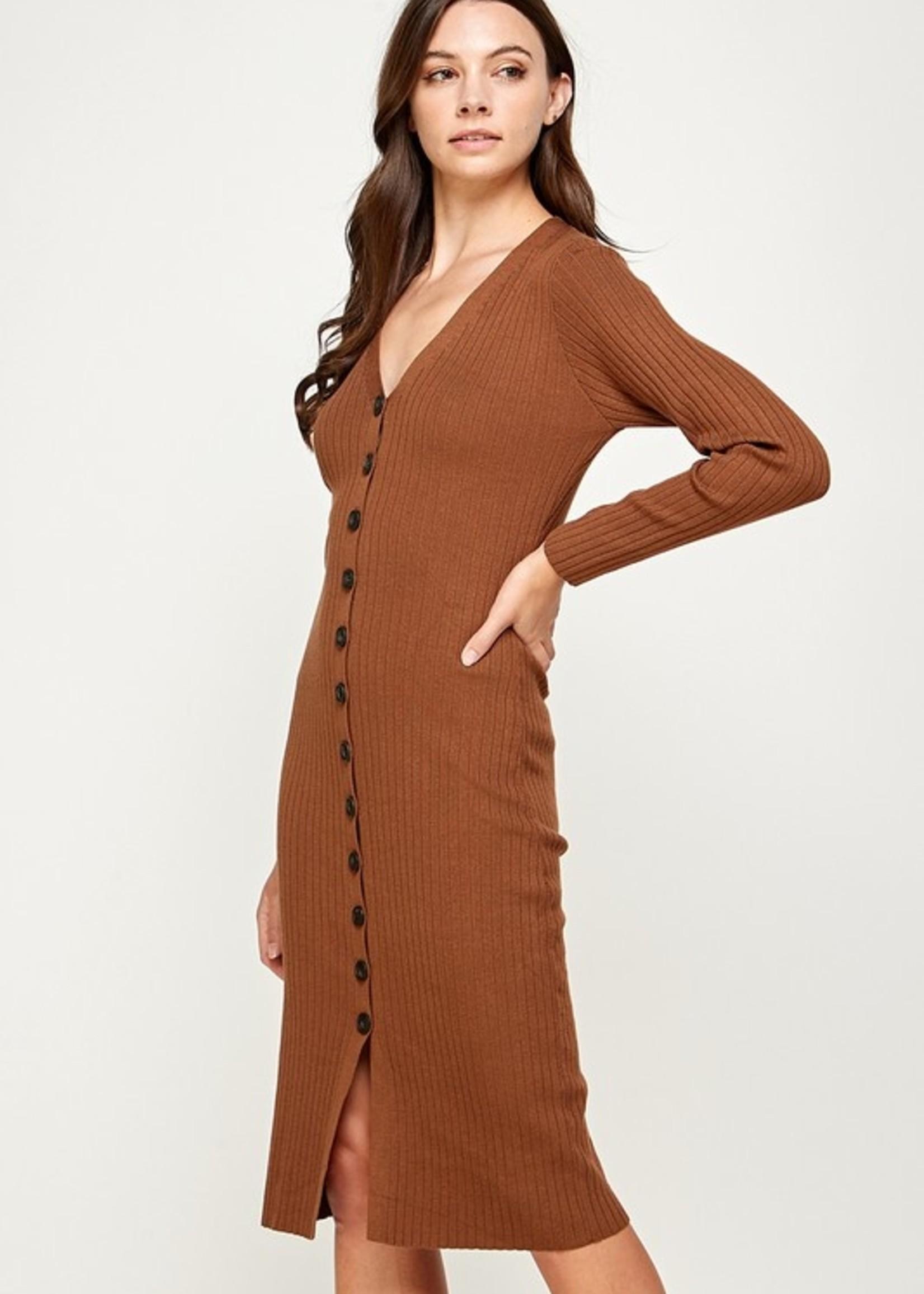 Long Sleeve Button Down Sweater Dress - Brown