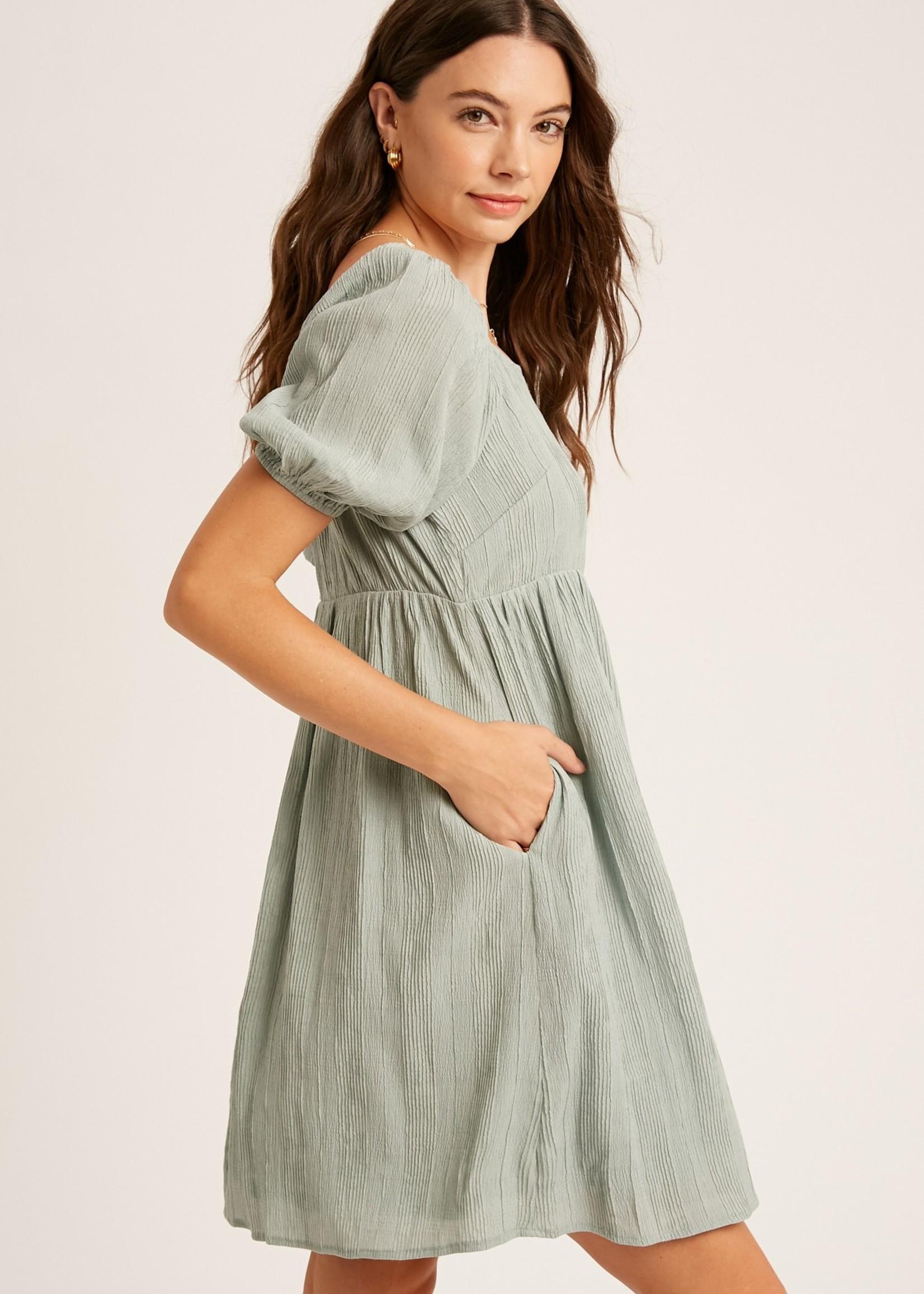 Square Neck Puff Sleeve Dress - Sage