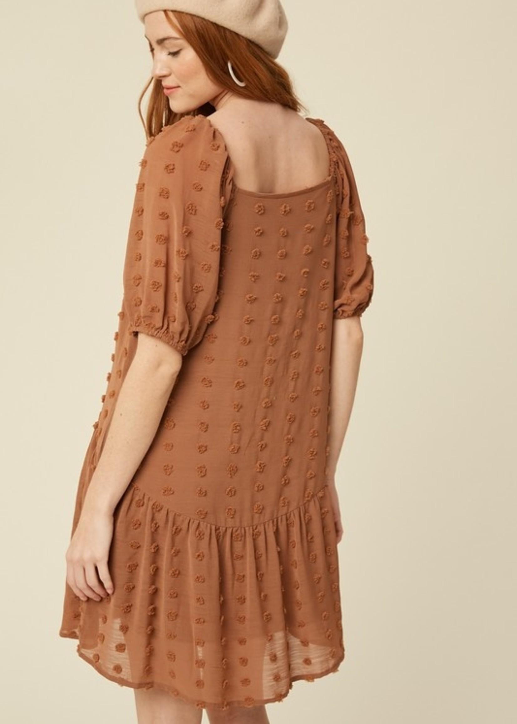 Swiss Dot Square Neck Puff Sleeve Dress - Butterscotch