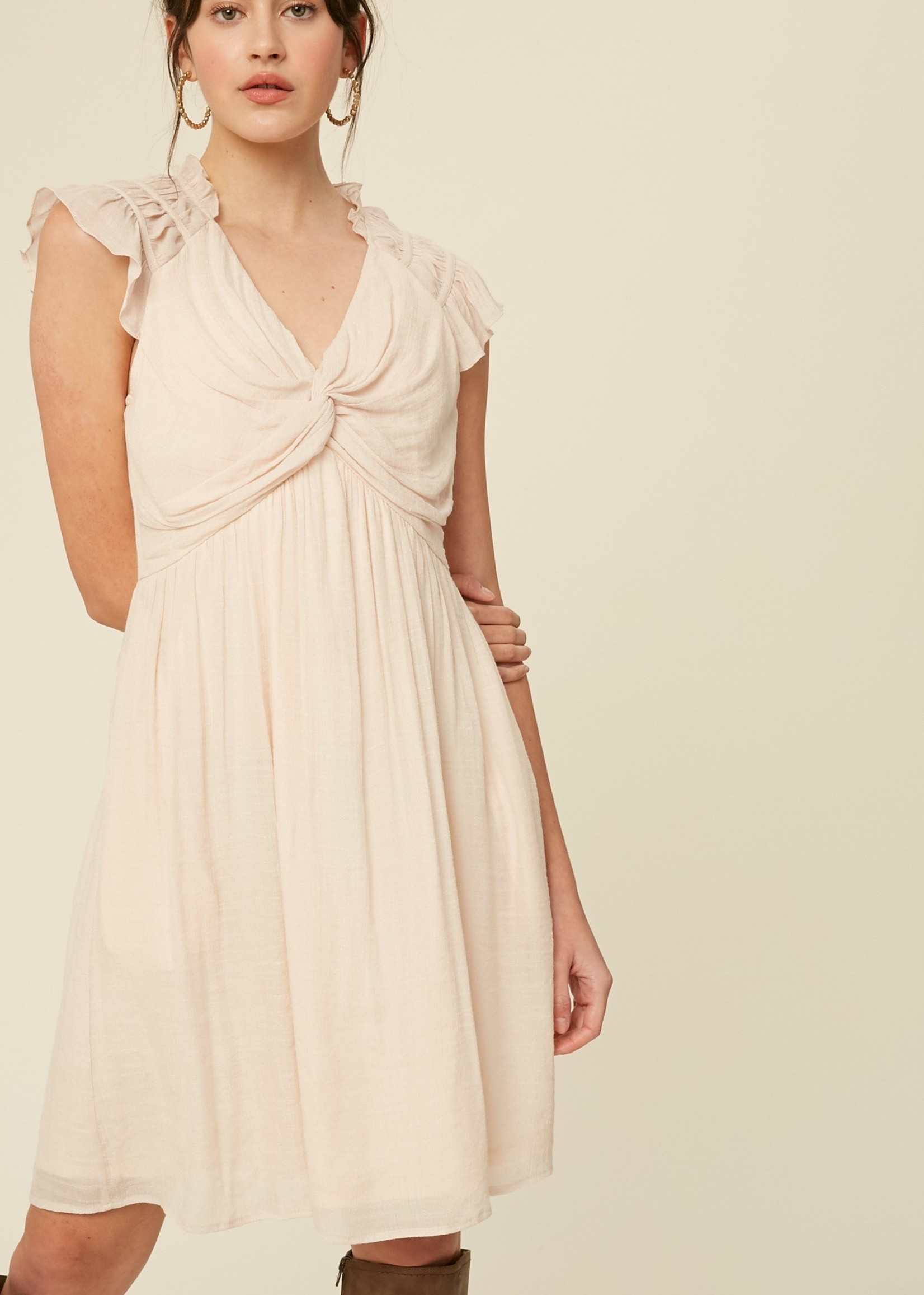 Crinkle Cotton Front Knot Dress - Ivory